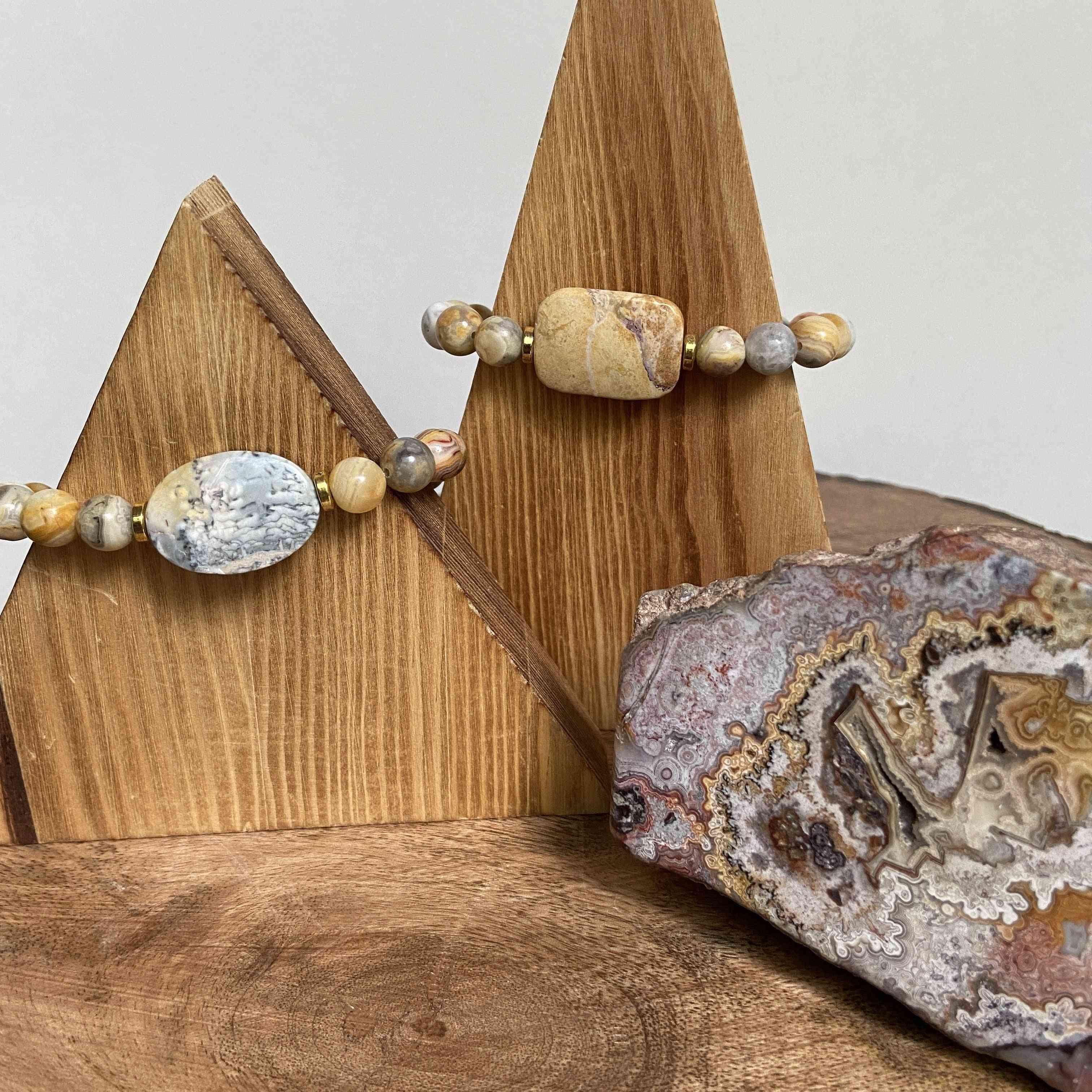 Crazy Lace Agate Focal Bracelet