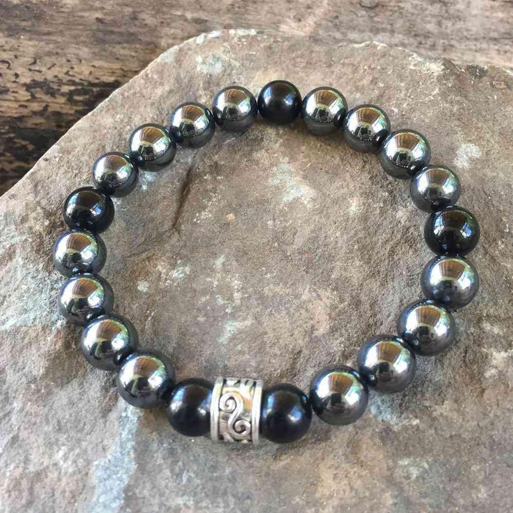 Hematite And Bead Bracelet
