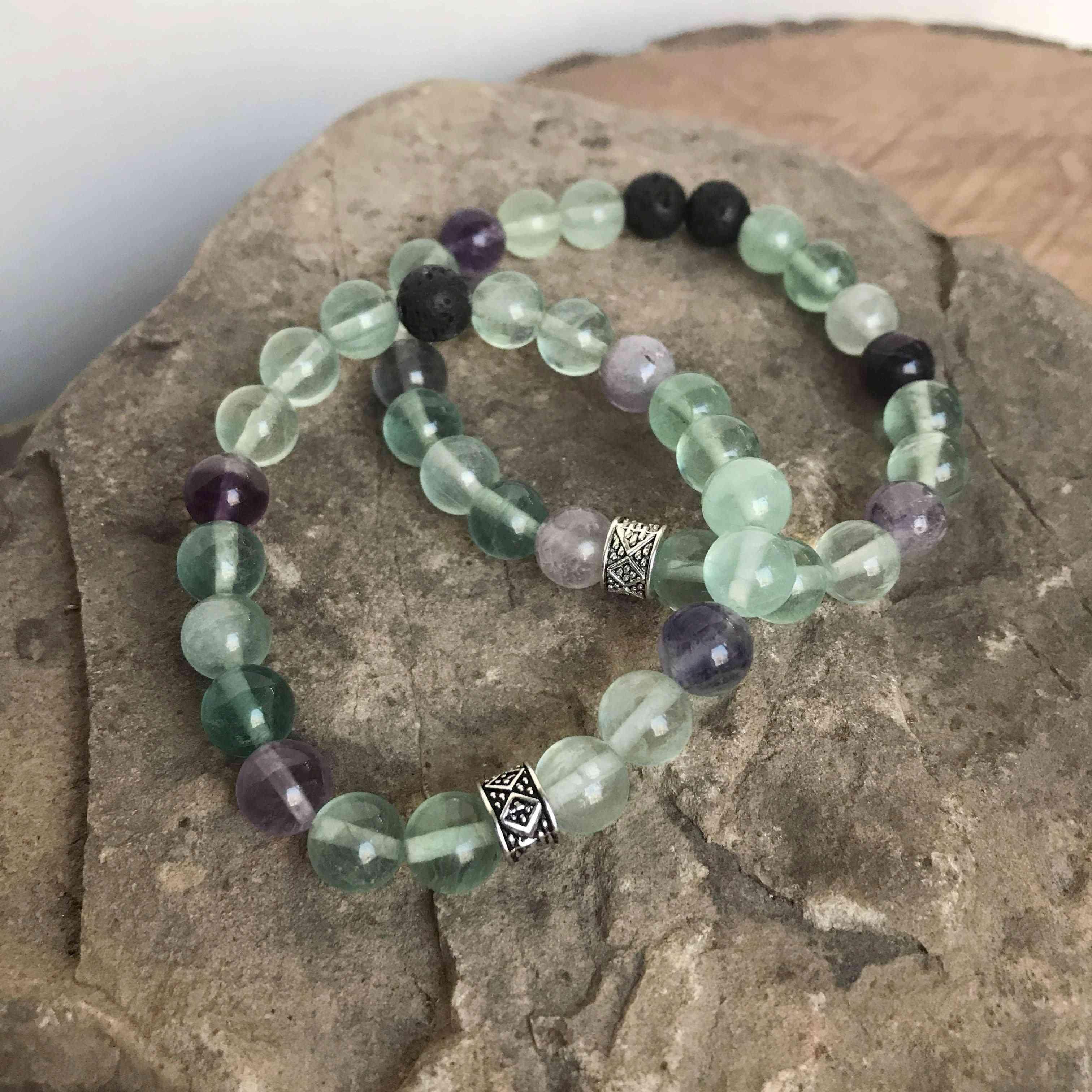 High-quality Polished Rainbow Fluorite Bead Bracelet