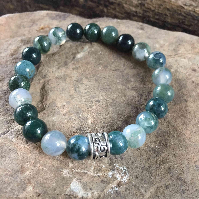 Moss Agate Stone Beads Bracelet