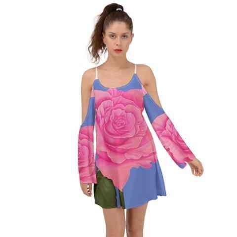 Pink Blue Rose Kimono Sleeves Womens Boho Dress