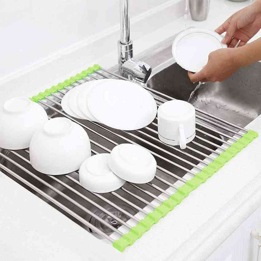 Stainless Steel Dish Drying Roll Up Sink Mount Rack