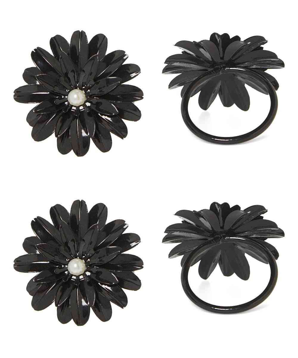 Vibhsa Black Floral Set Of 4 Napkin Rings
