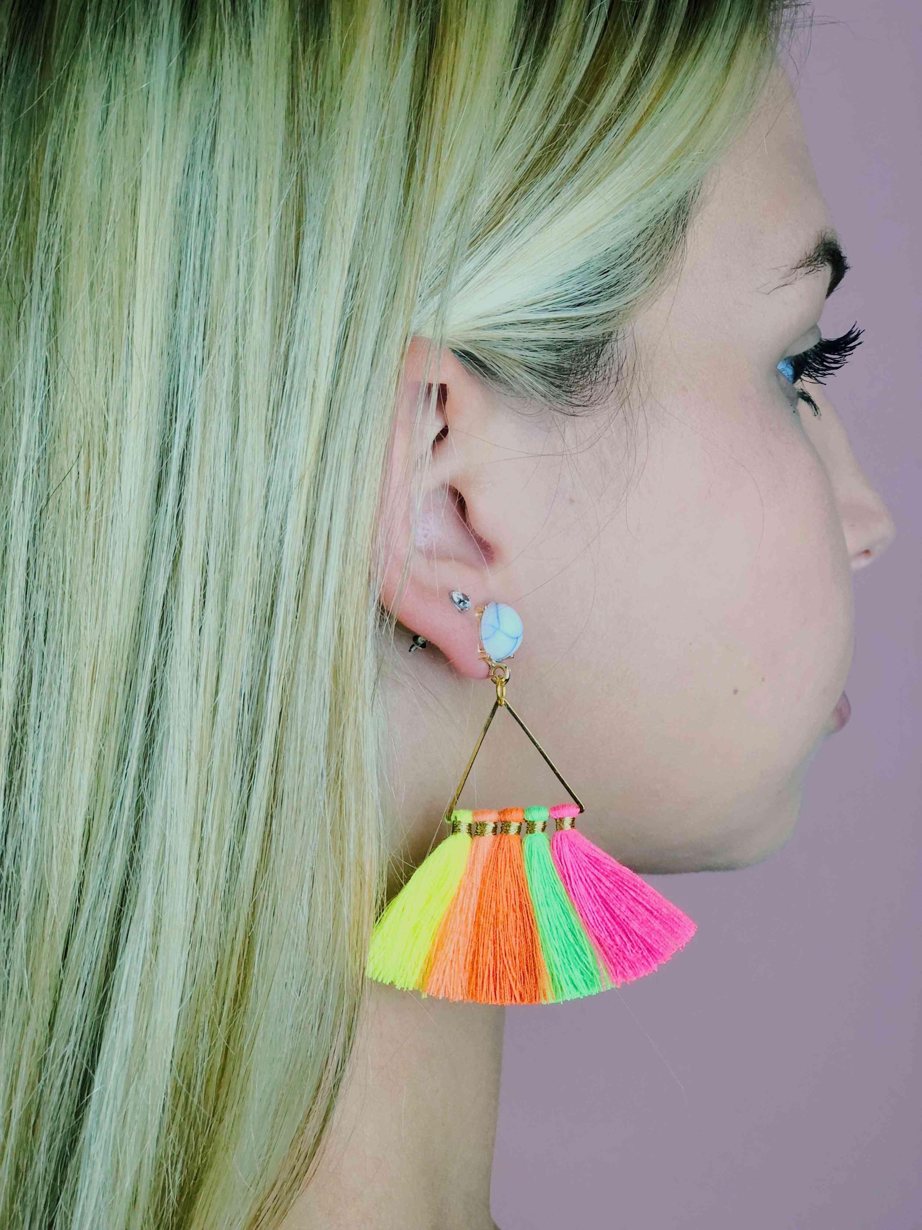 Handmade Cotton Fringe Triangle Earring