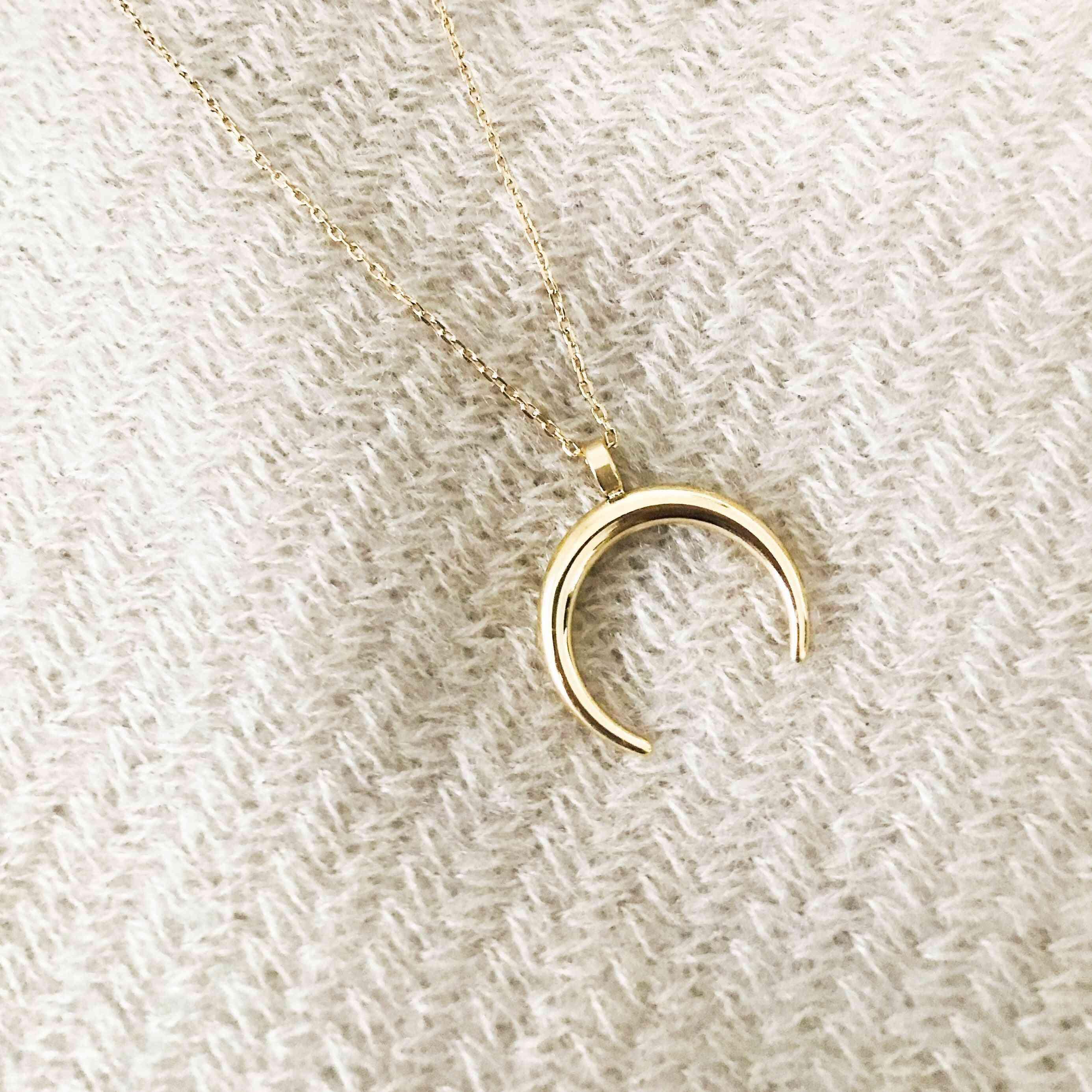 Gold Half Moon Design Pendant