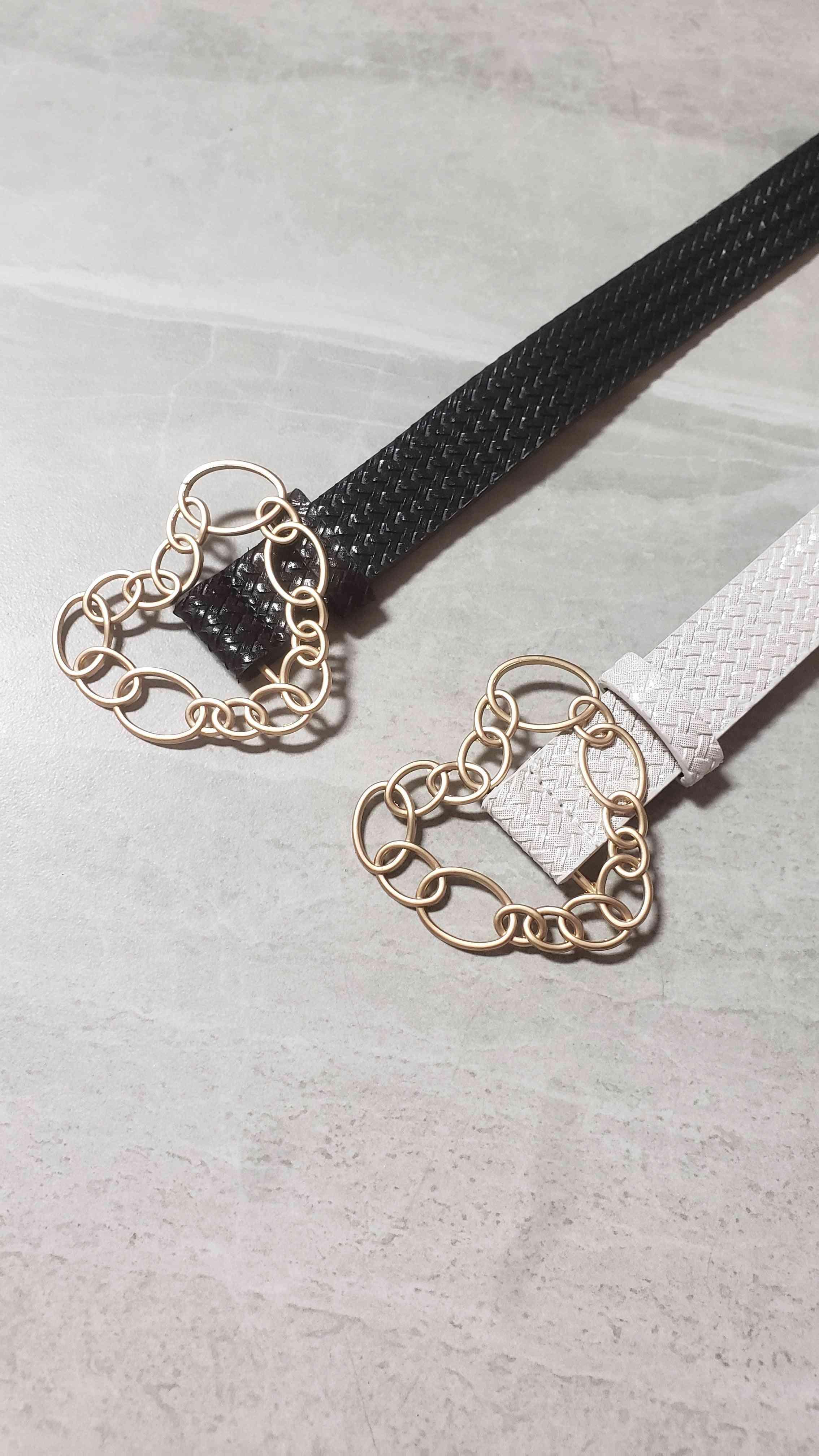 Chain Link Heart Shape Buckle Waist Belt