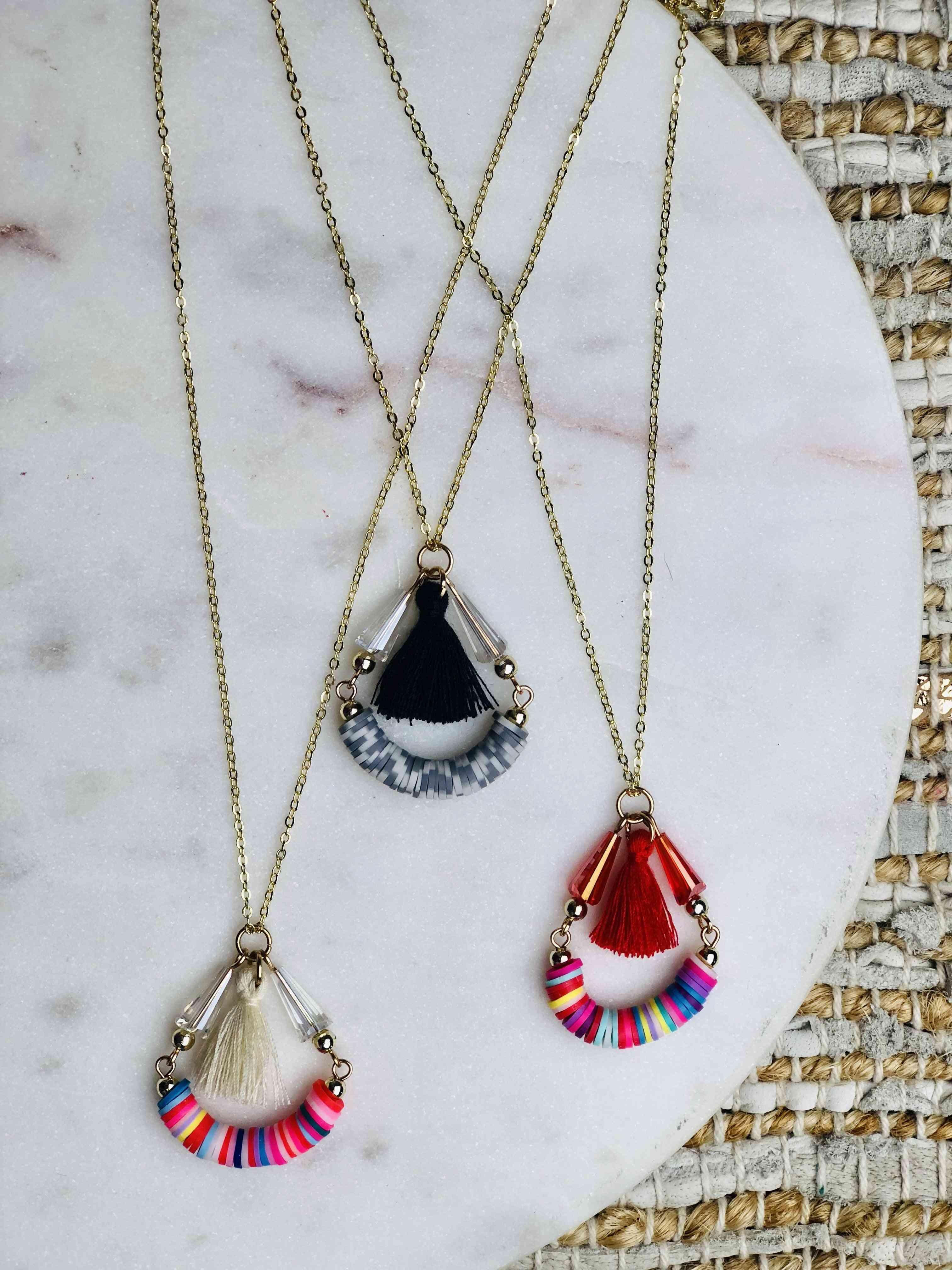 Rainbow Beads With Cotton Yarn Tassel Necklace