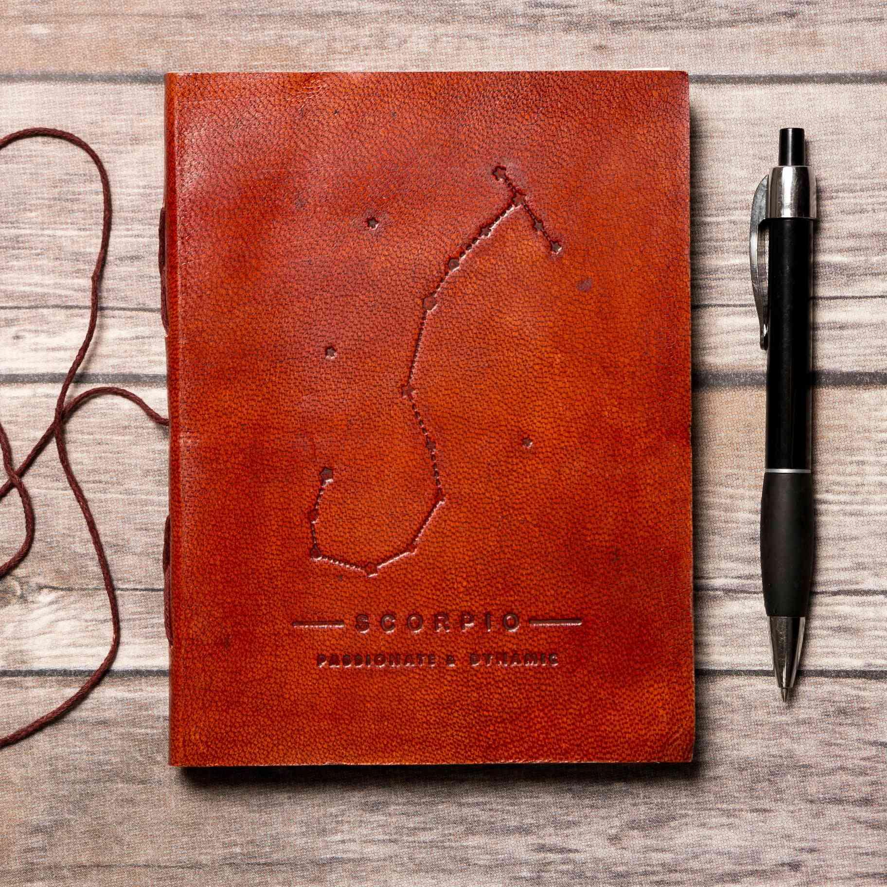 Scorpio Zodiac Symbol Handmade Genuine Leather Journal