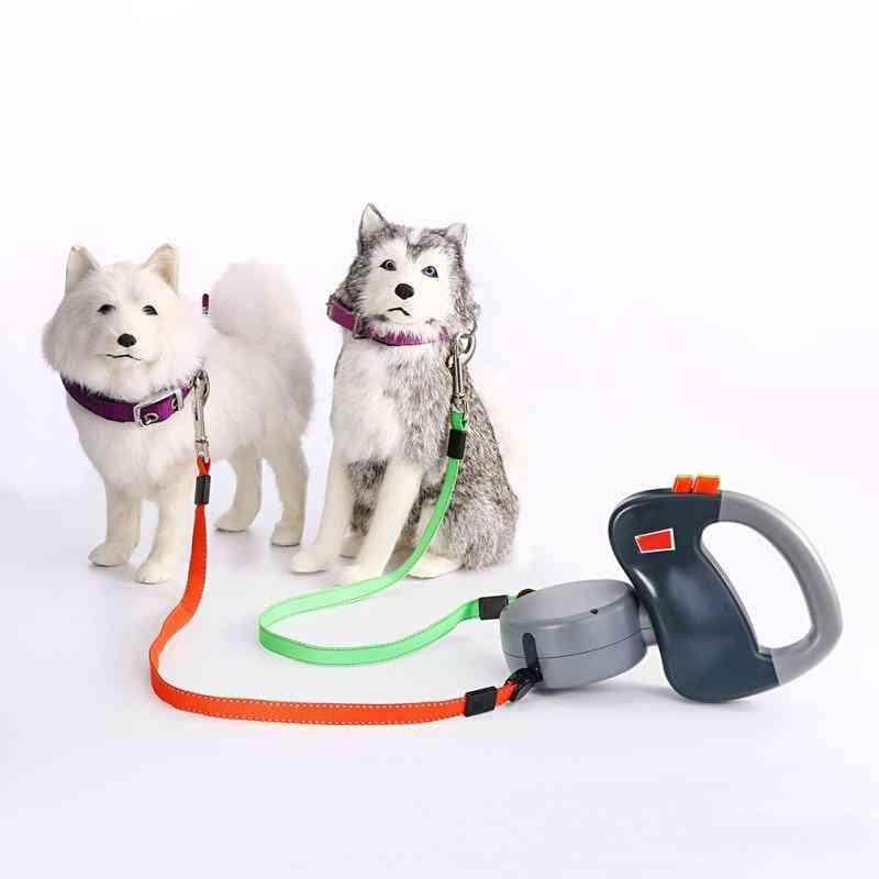 Dual Pet Dog Retractable Walking Leash