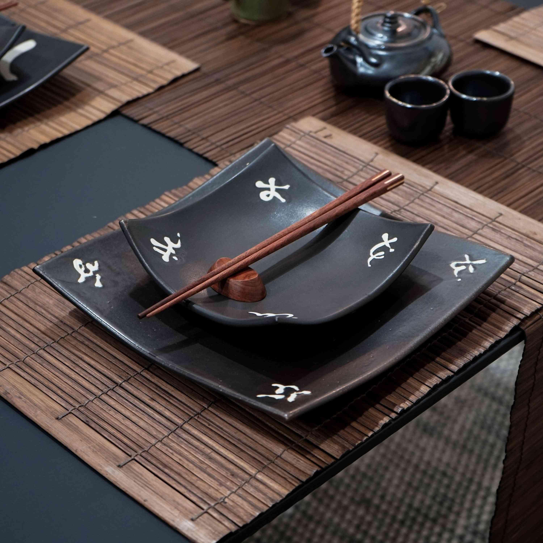 Dinner Set Including Square Plate, Chopsticks And Wood Rest