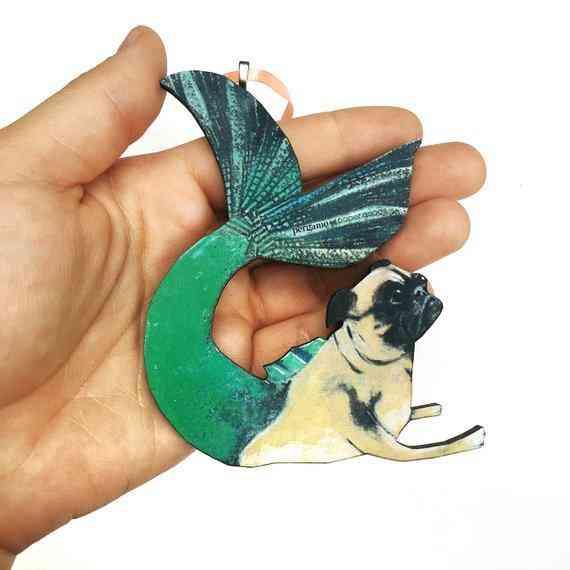 Mermaid Pug Holiday Ornament