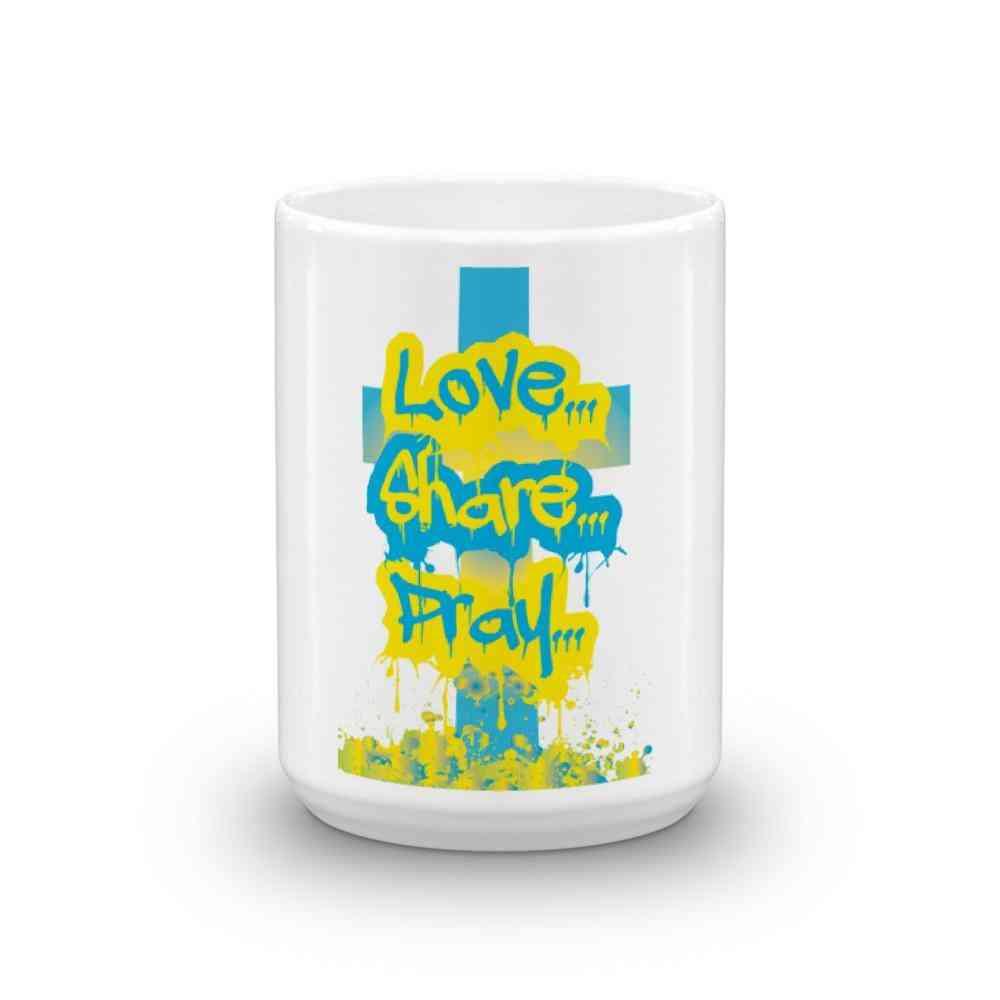 Spray Painted Love Share Pray Mug