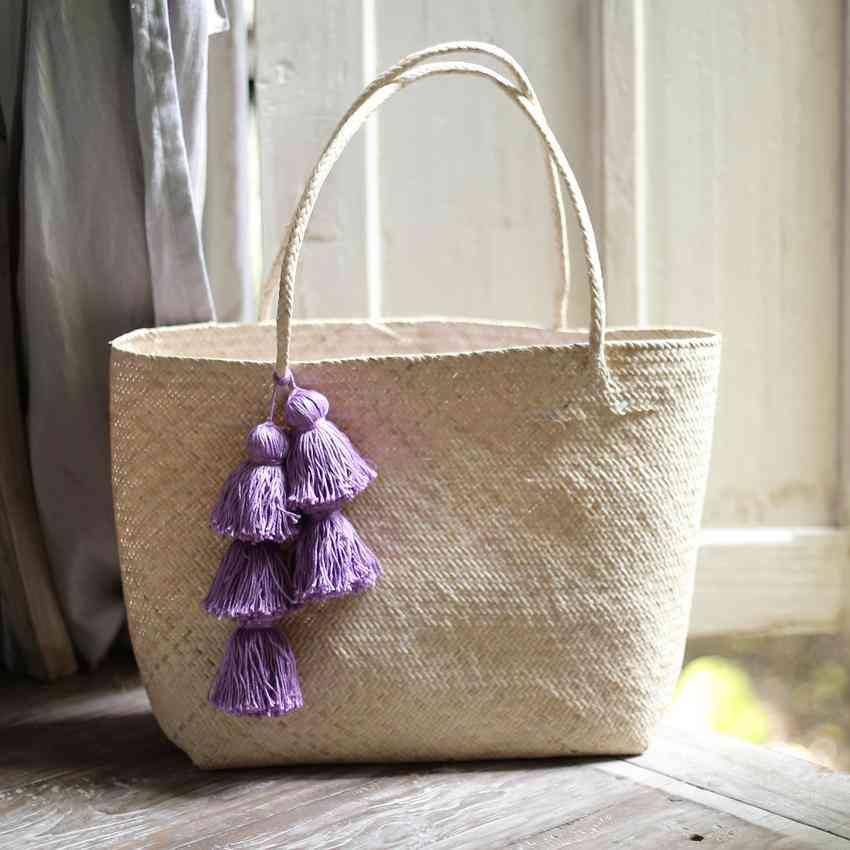 Borneo Sani Straw Tote Bag - With Purple Tassels