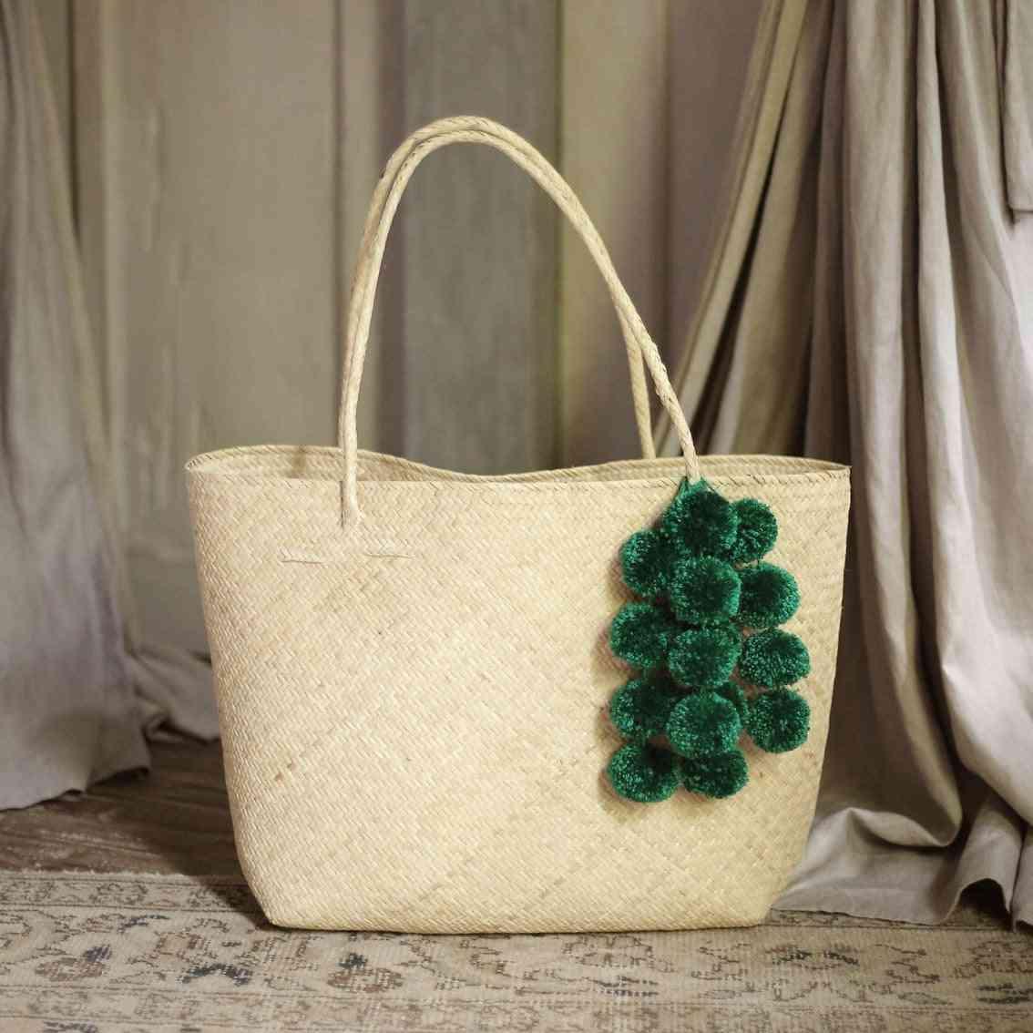 Borneo Sani Straw Tote Bag - With Emerald Pom-poms