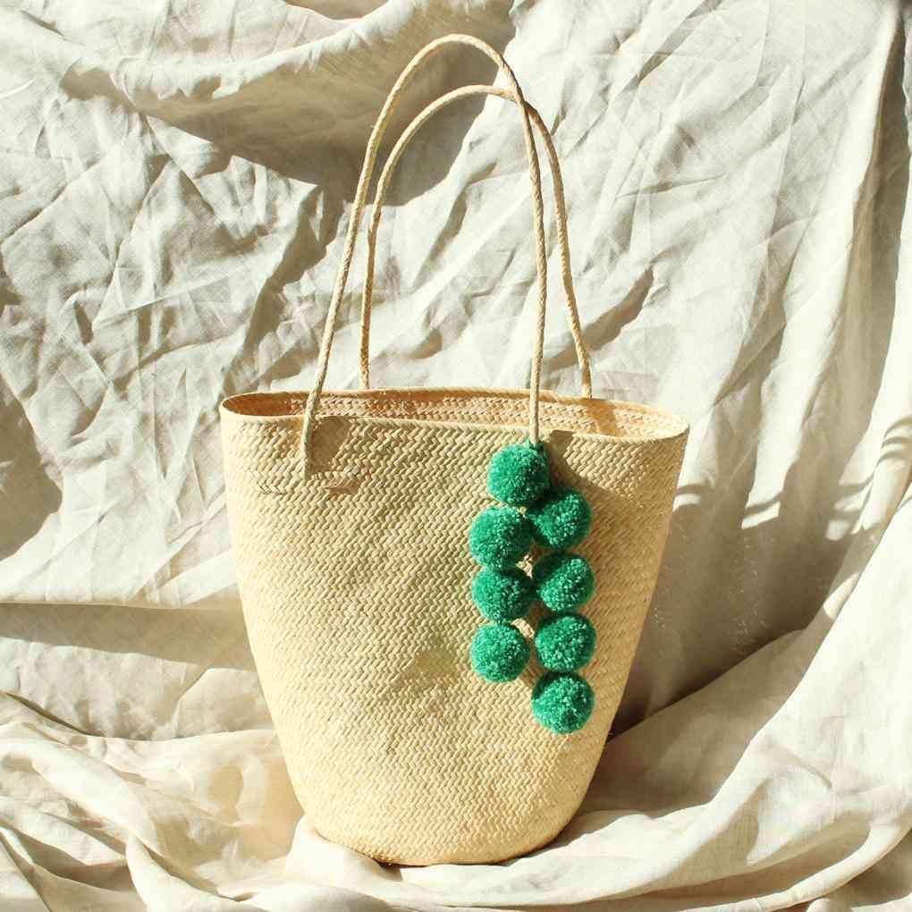 Borneo Serena Straw Tote Bag With  Pom-poms