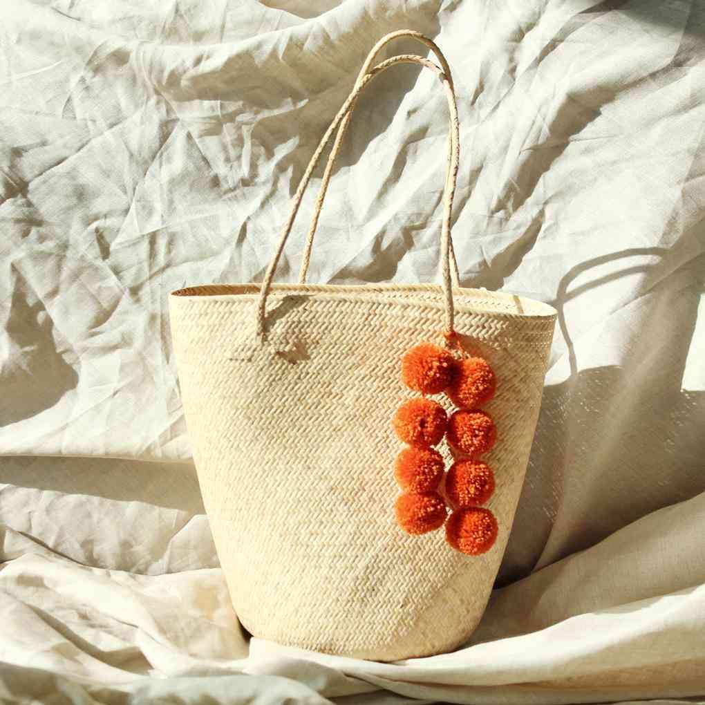 Borneo Serena Straw Tote Bag With Pumpkin Pom-poms