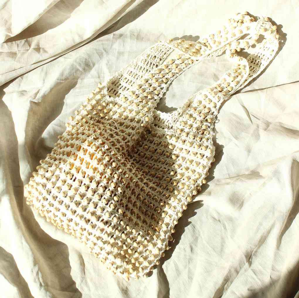 Karma Wooden Crochet Beads Bag