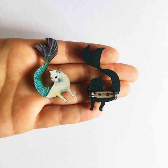 Mermaid Cat Lapel Pin-laser Cut