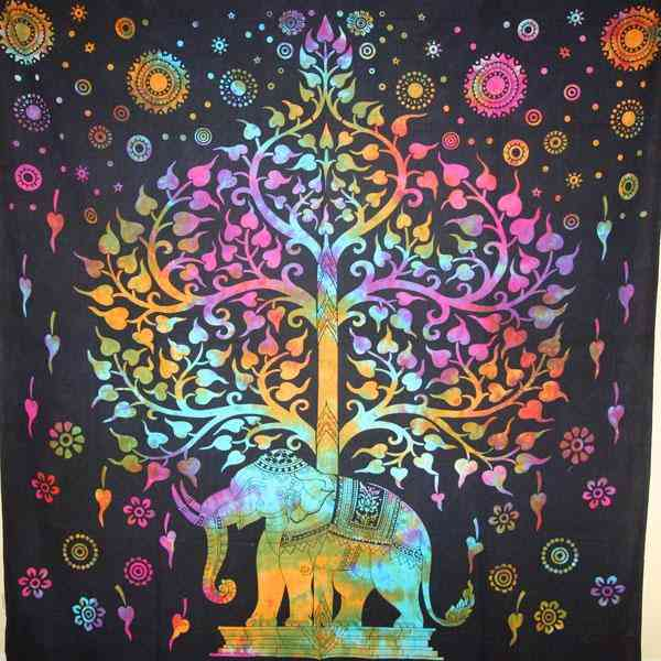 Regal Tapestry With Majestic Elephant Under Tree