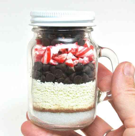 Mini Mason Jar With Peppermint Candy Cane Hot Chocolate Mix