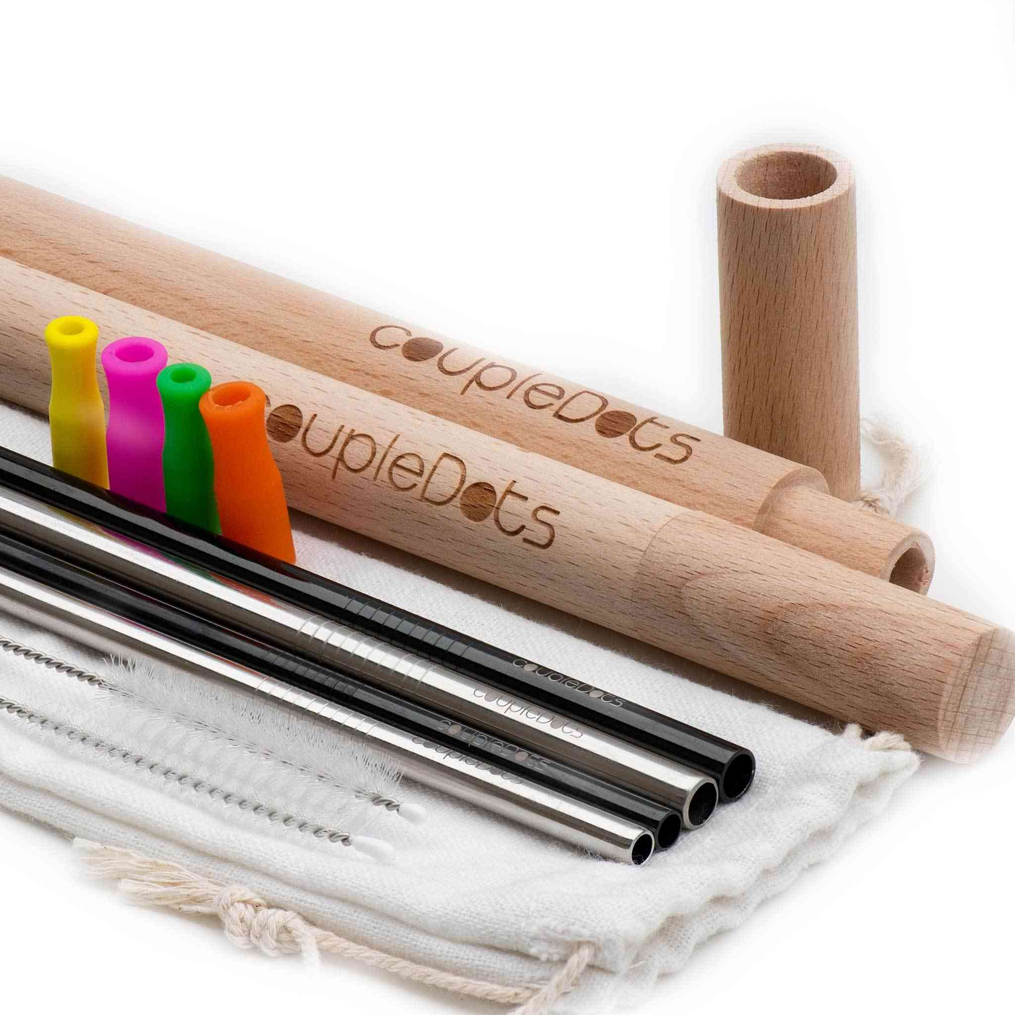 Stainless Steel Drinking Straws With Wooden Case & Silicone Tips