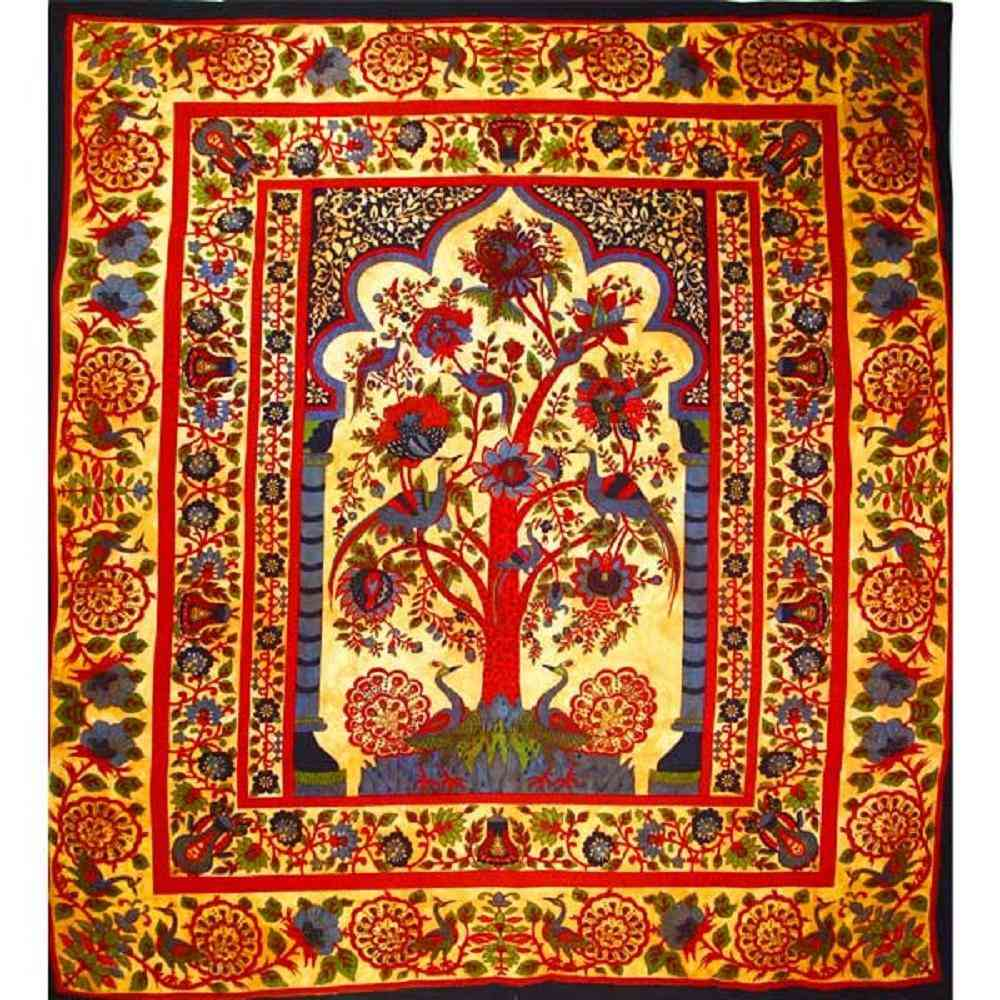 Grand Tree Of Life Peacock Tapestry