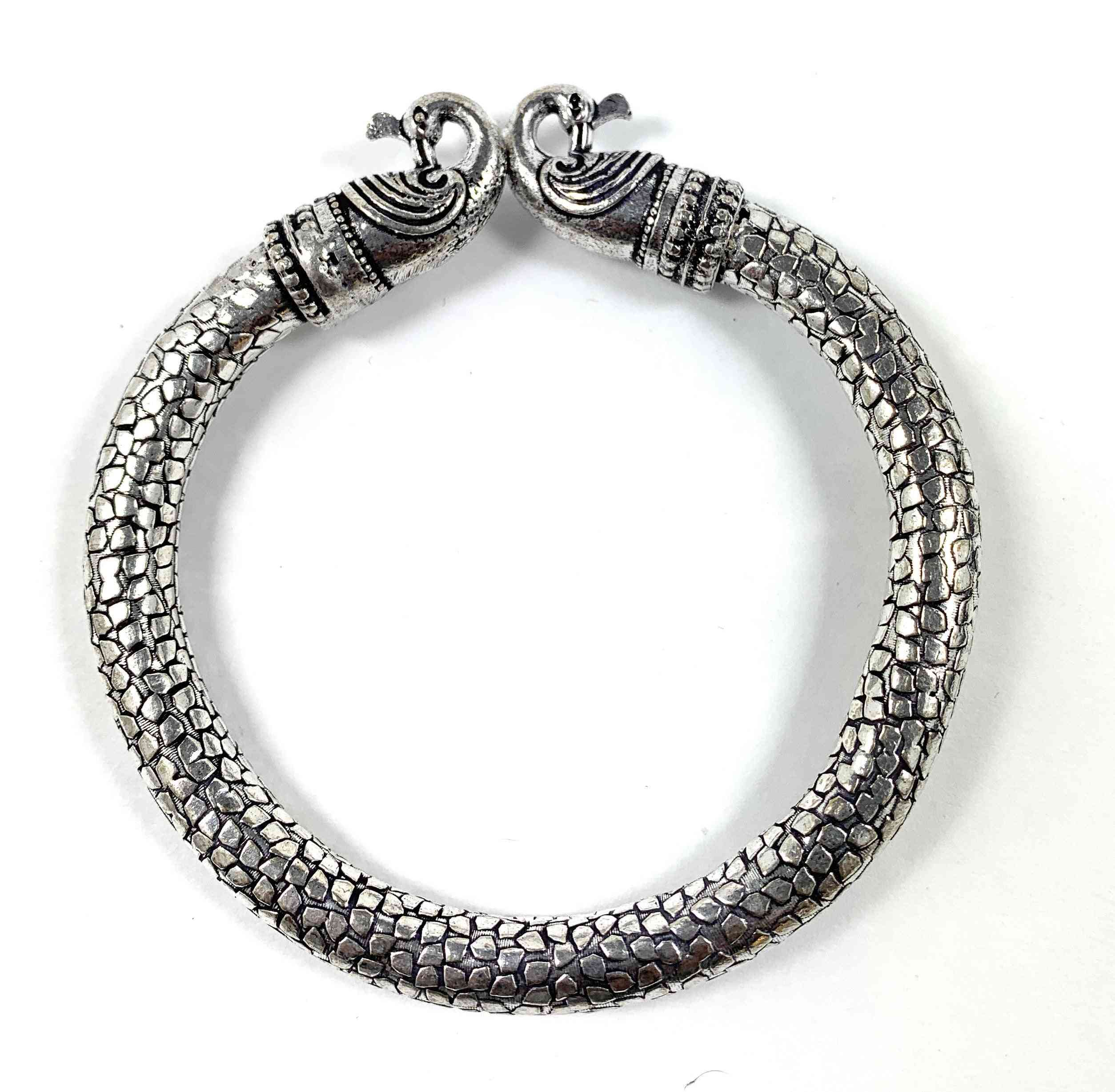 Antique Norse Bracelet With Peacock Heads & Snake
