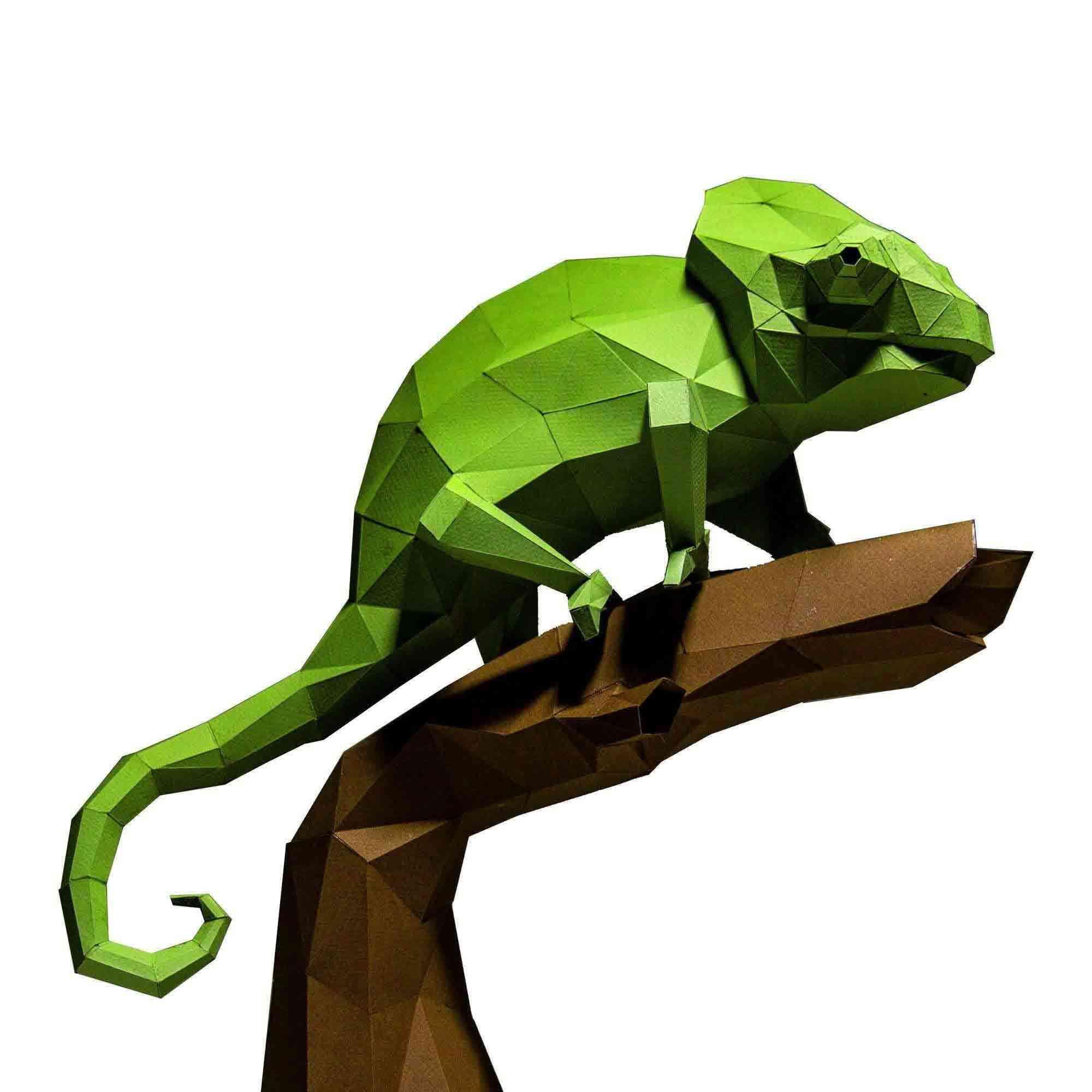 3d Pre Cut And Folded Chameleon Model Paper Craft