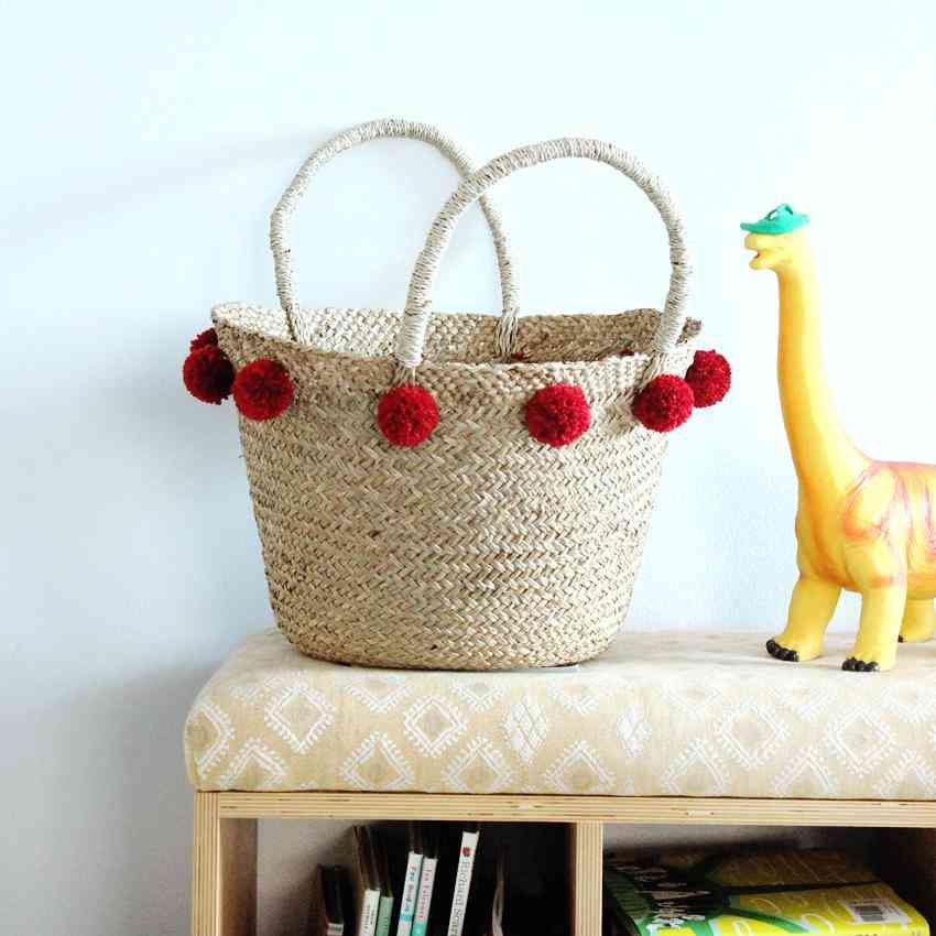 Woven Market Basket With Cranberry Red Pom-poms