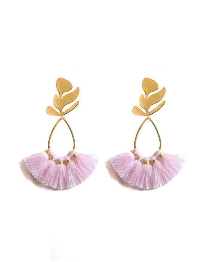 Gold Leaf Fringe Earring