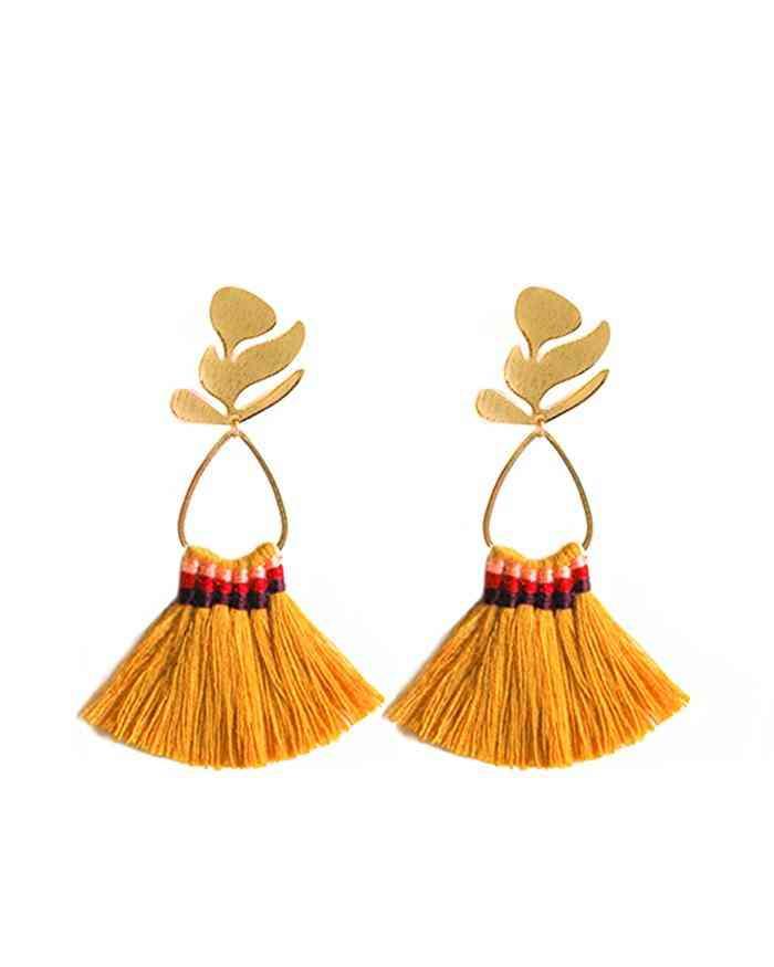 Gold Leaf Terracota Fringe Earrings Women Jewelry