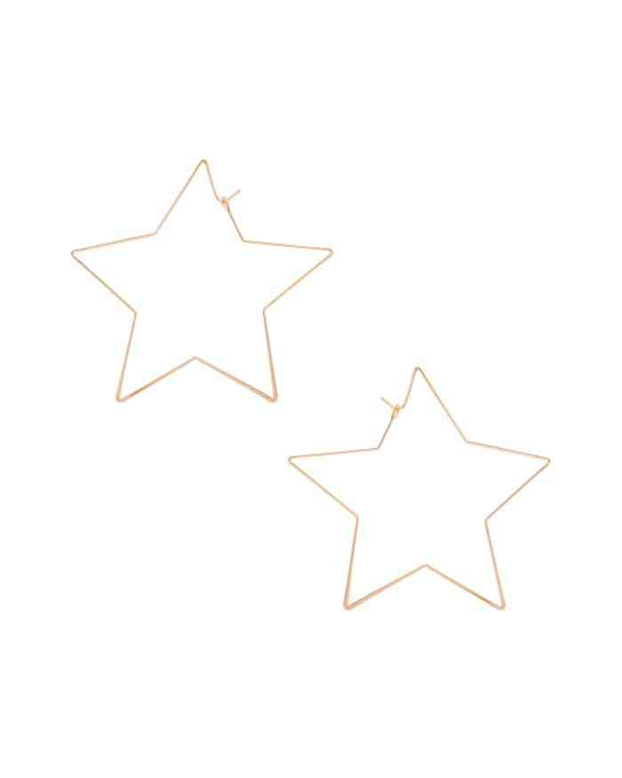 Star Shape Gold Hoop Earrings
