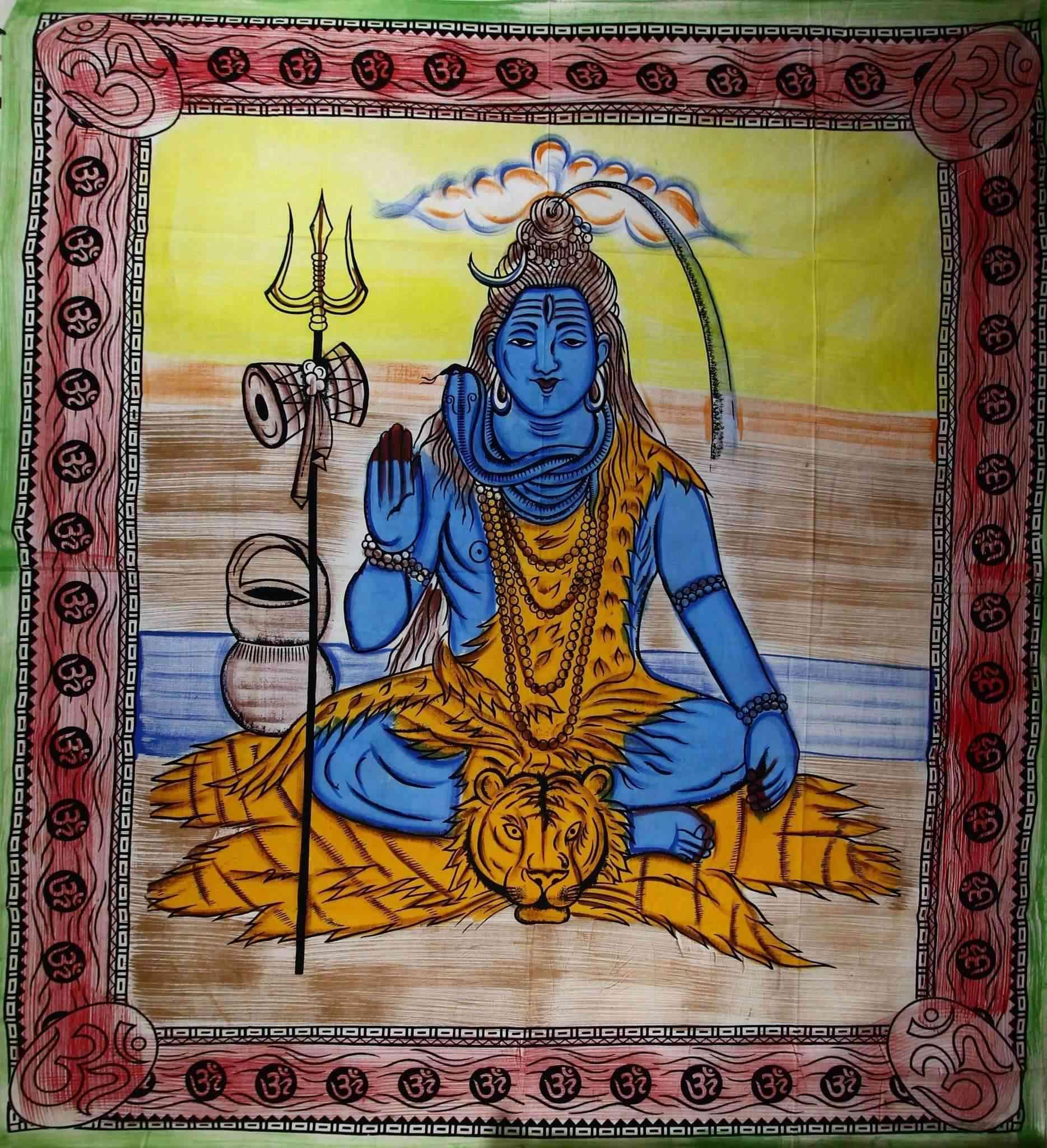 Third Eye Shiva With Trishul & Om Tapestry