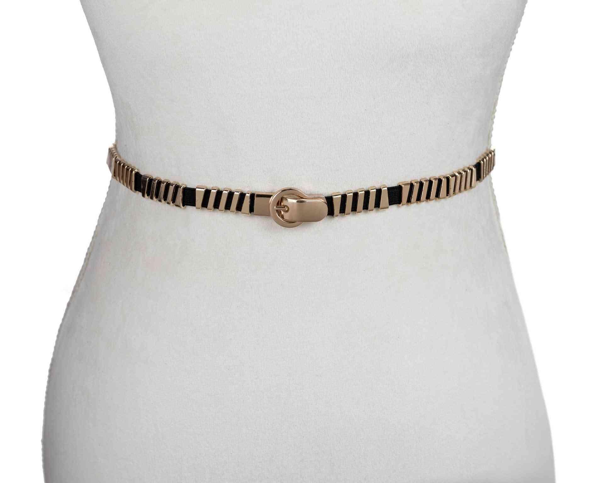 Gold Diagonal Stretch Belt