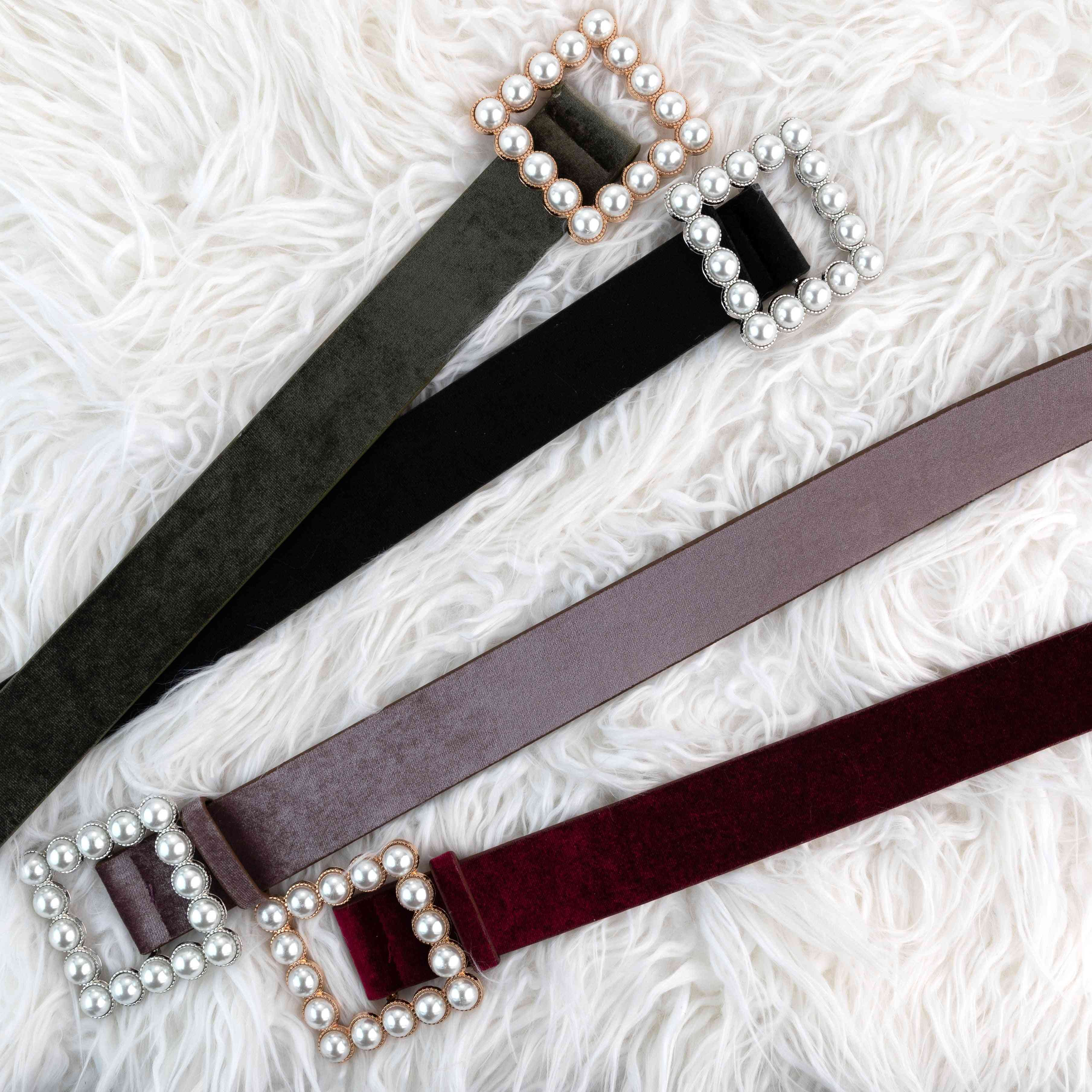 Pearl Square Buckle Velour Belt