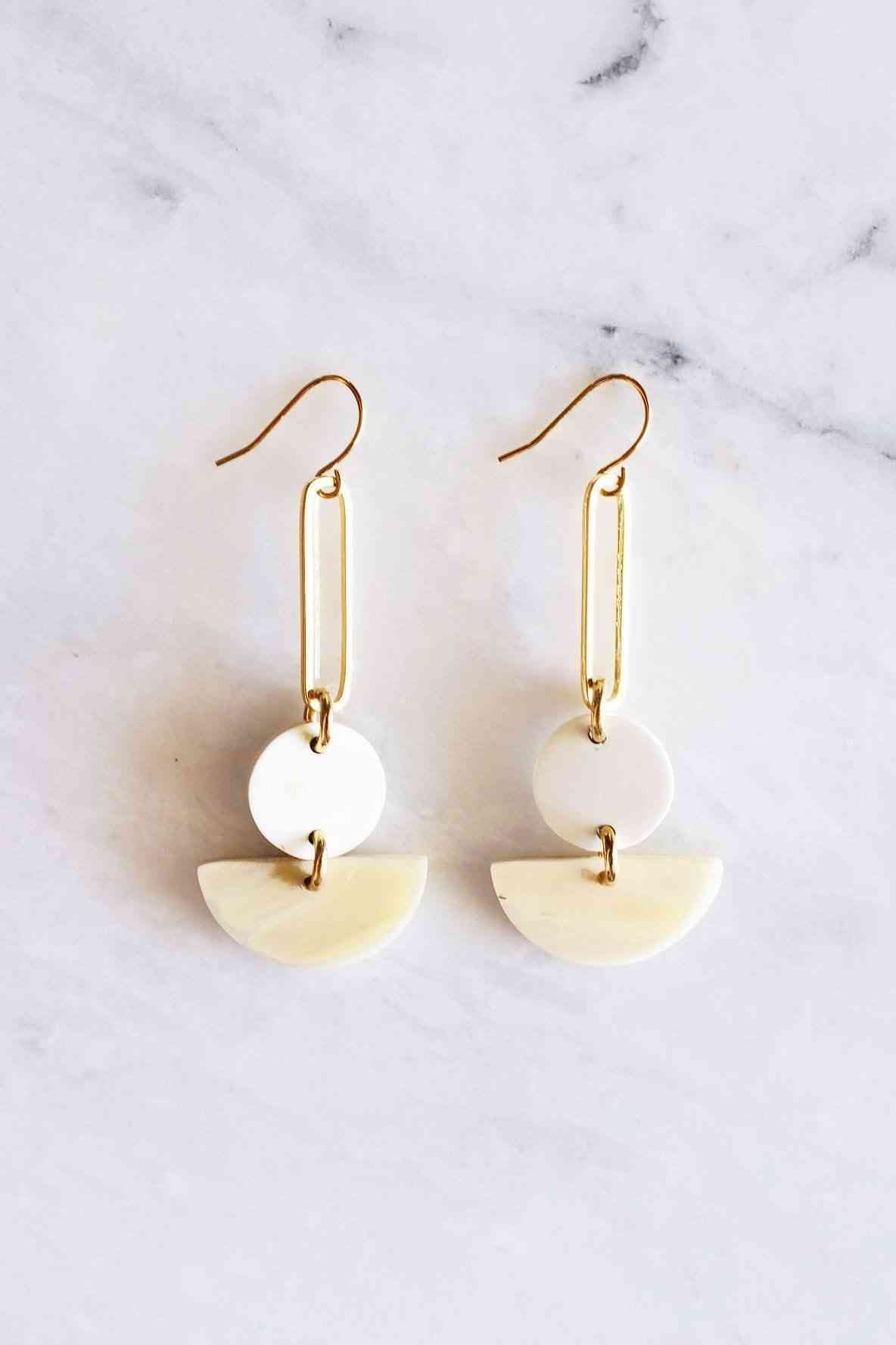 Tho Bar & Geo Buffalo Horn Earrings
