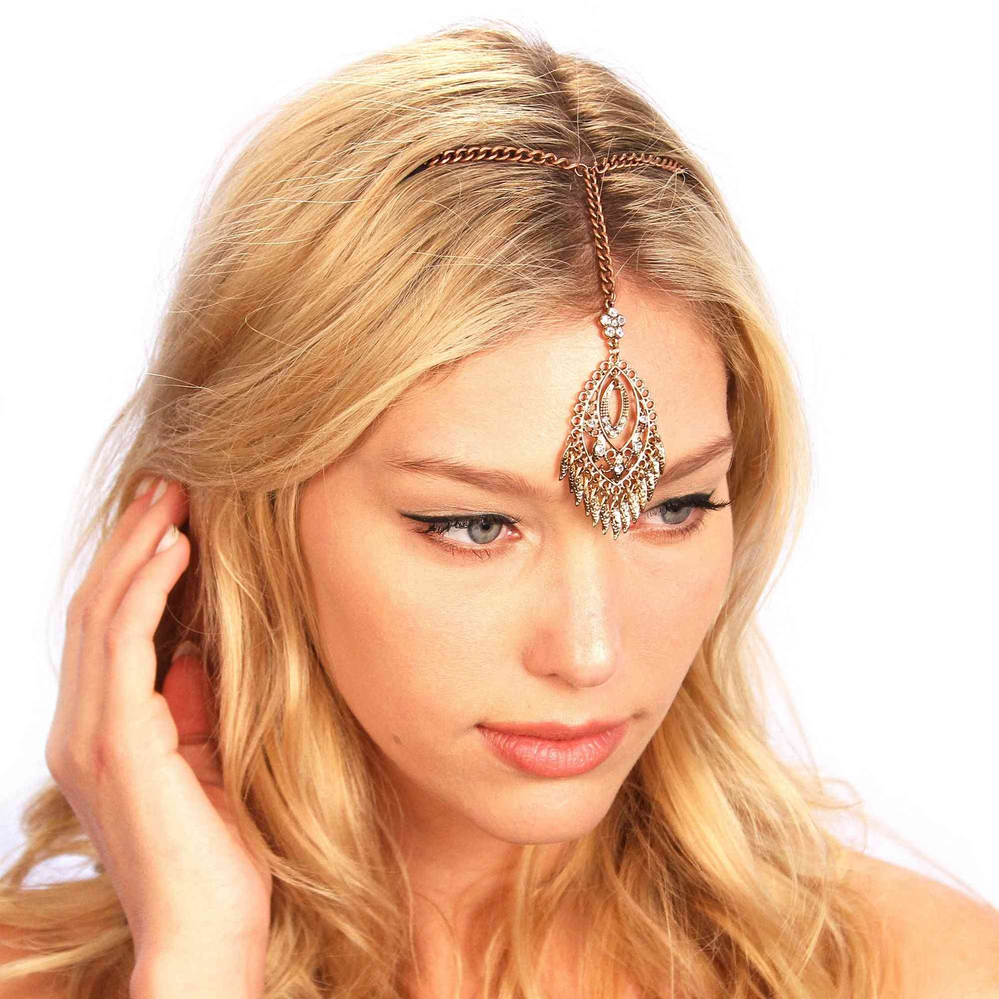 Bronzed Fringe Dangling Tikka-headpiece