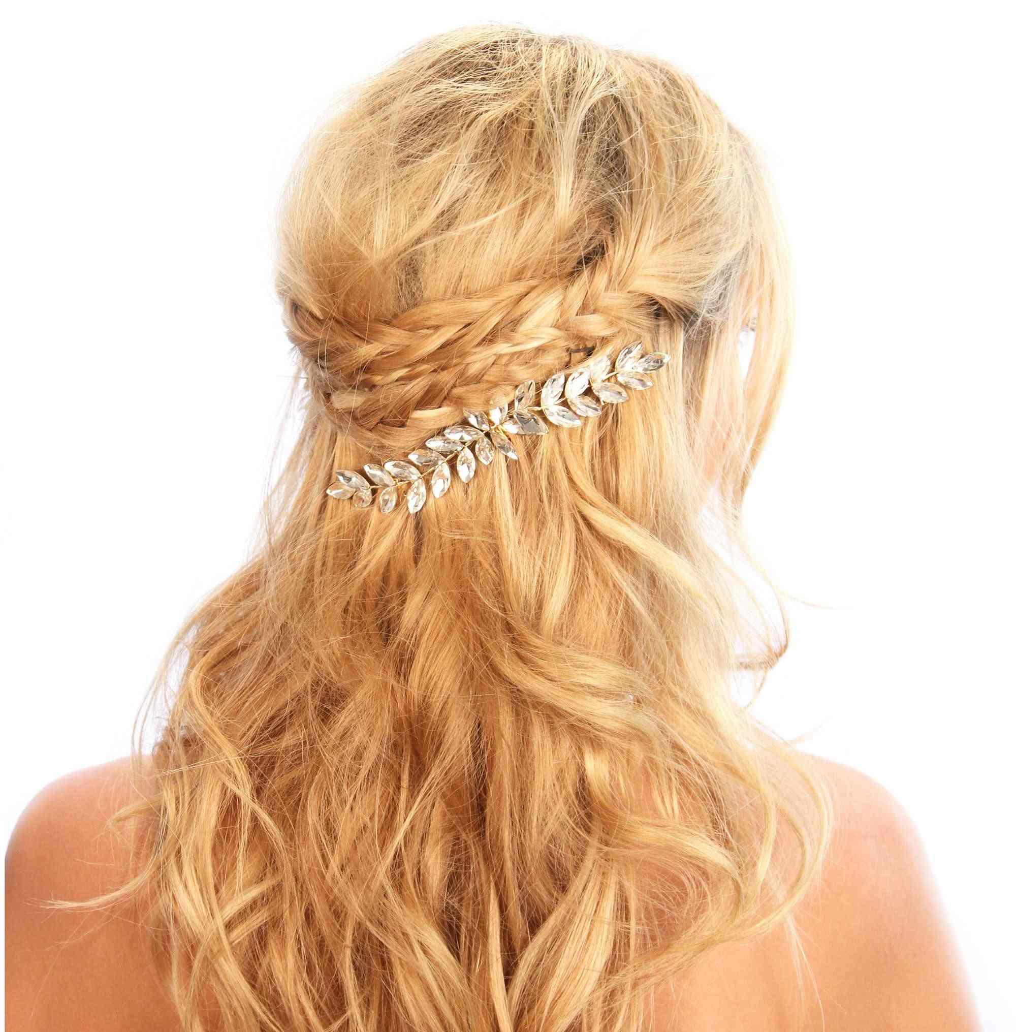 Crystal Embellished Leaf Desig Hair Comb