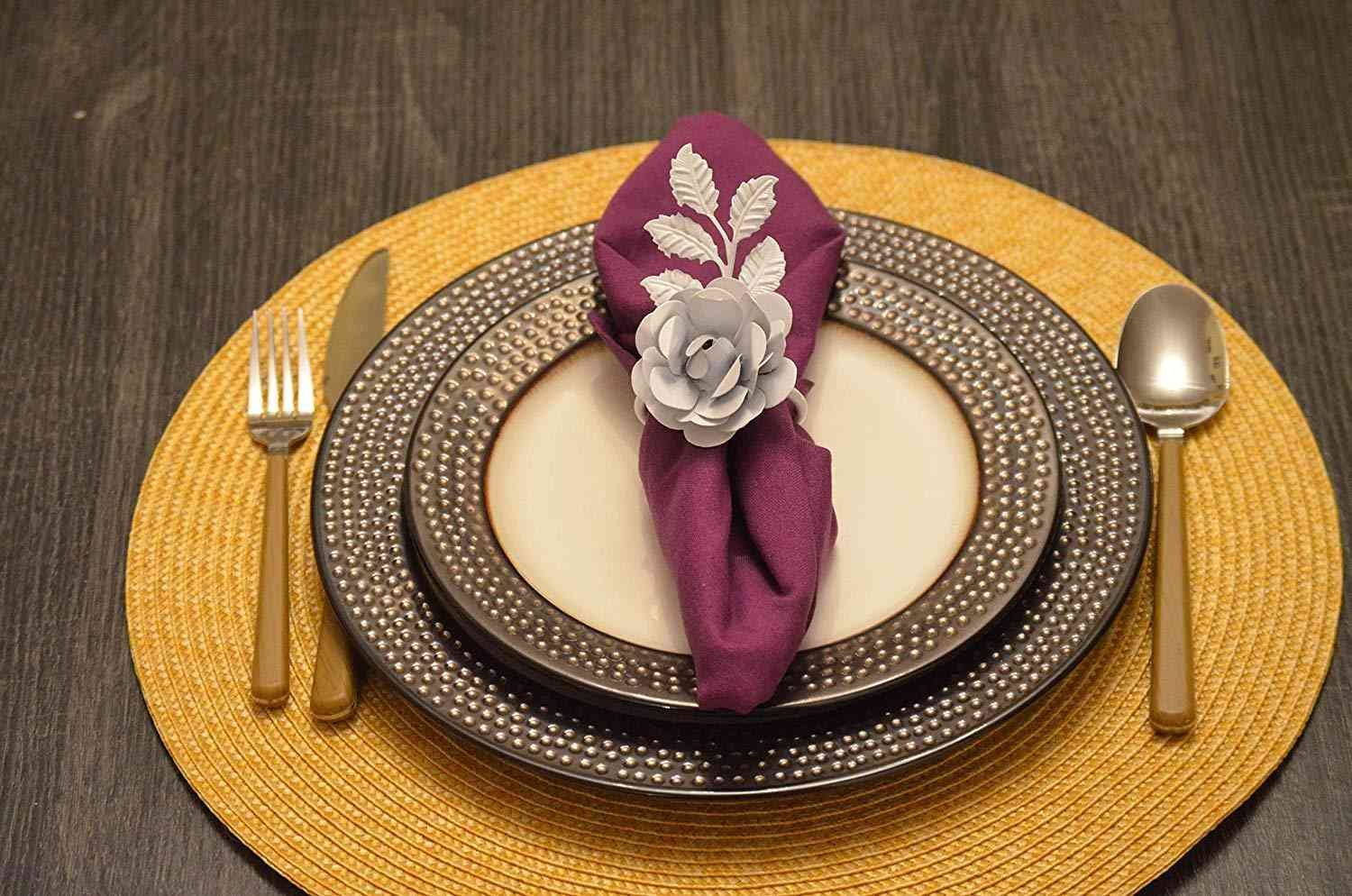 Handcrafted Luxurious Rose Napkin Rings Set