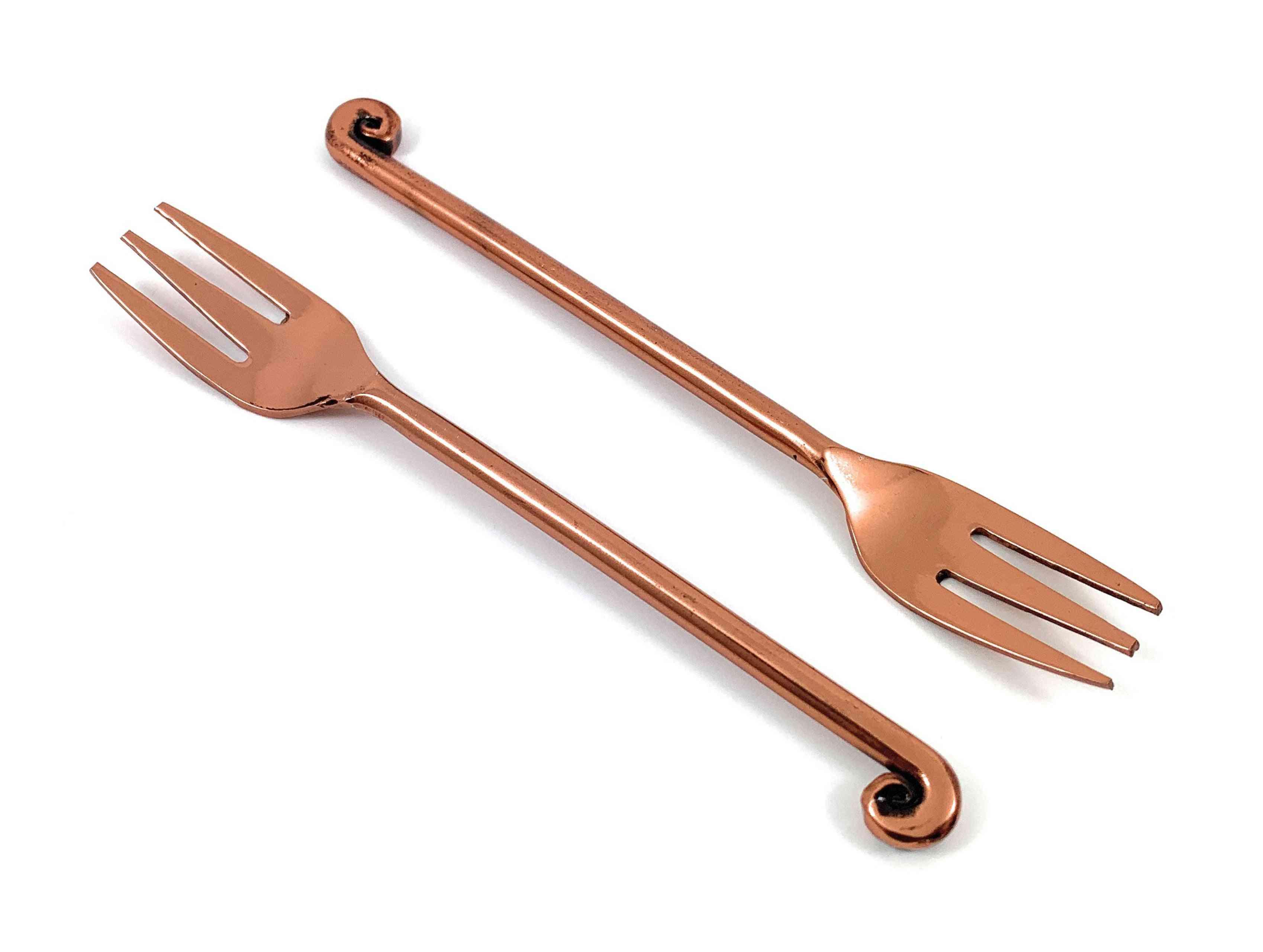 Copper Finish Appetizer Forks Set