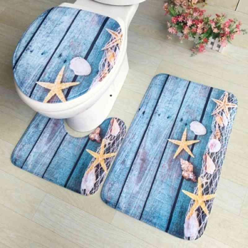 Bath Mats, Toilet Cover And Foot Pad Set