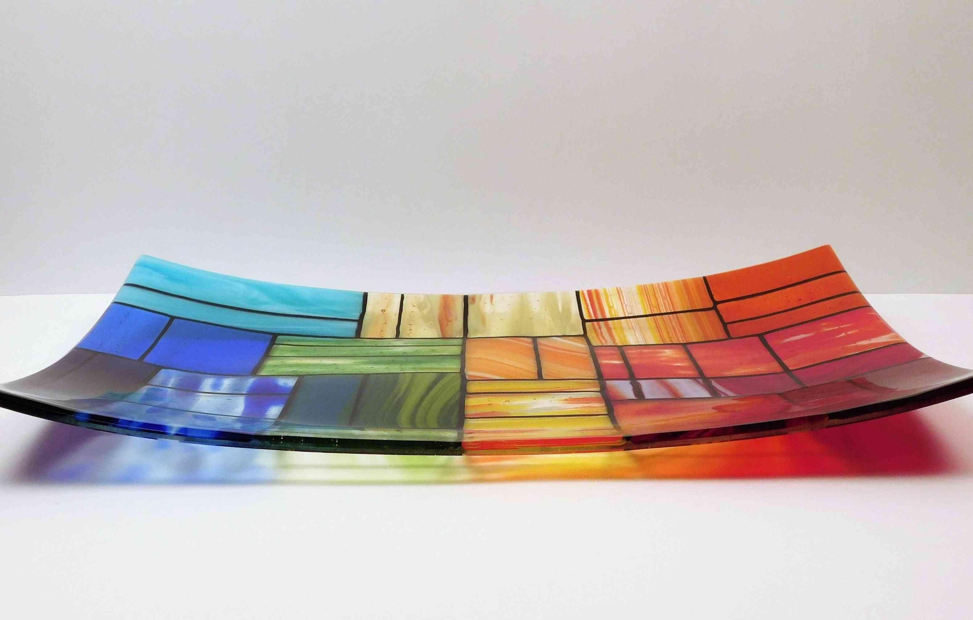 A Rectangular Fused Glass Platter