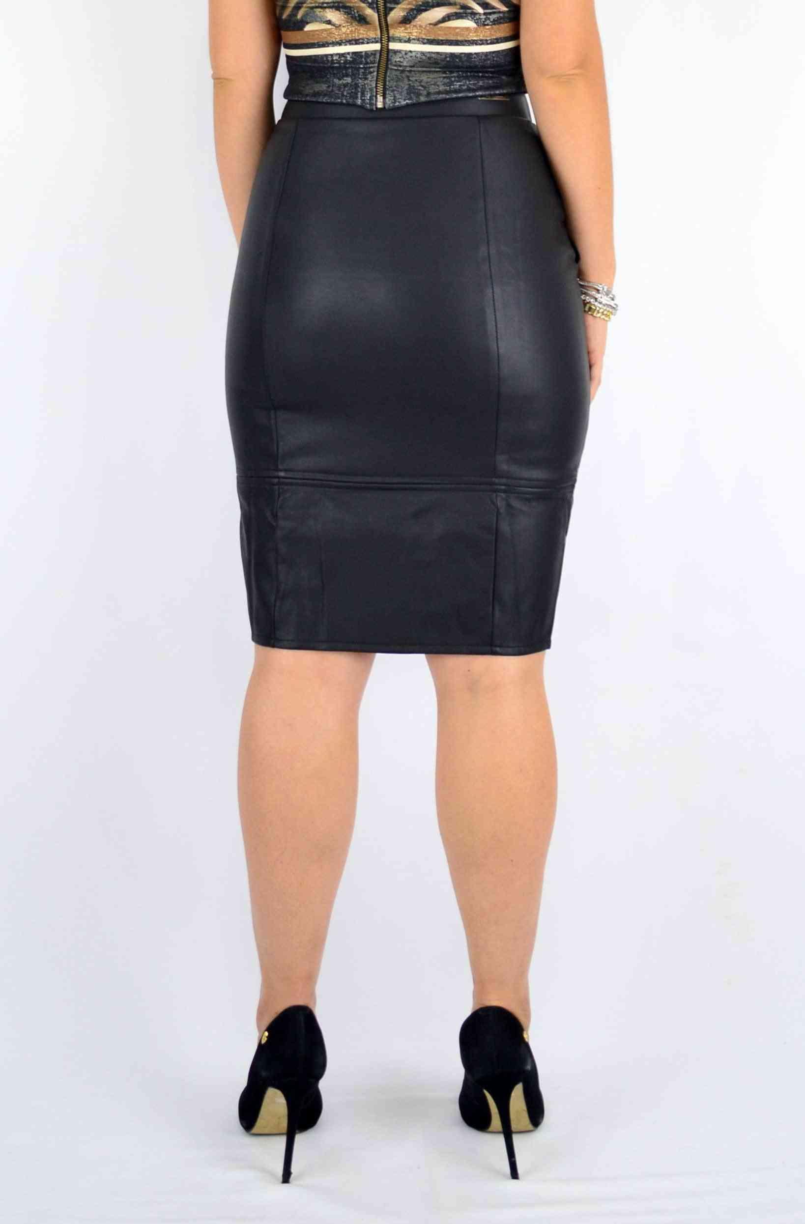 High Waist Mini Leather Skirt