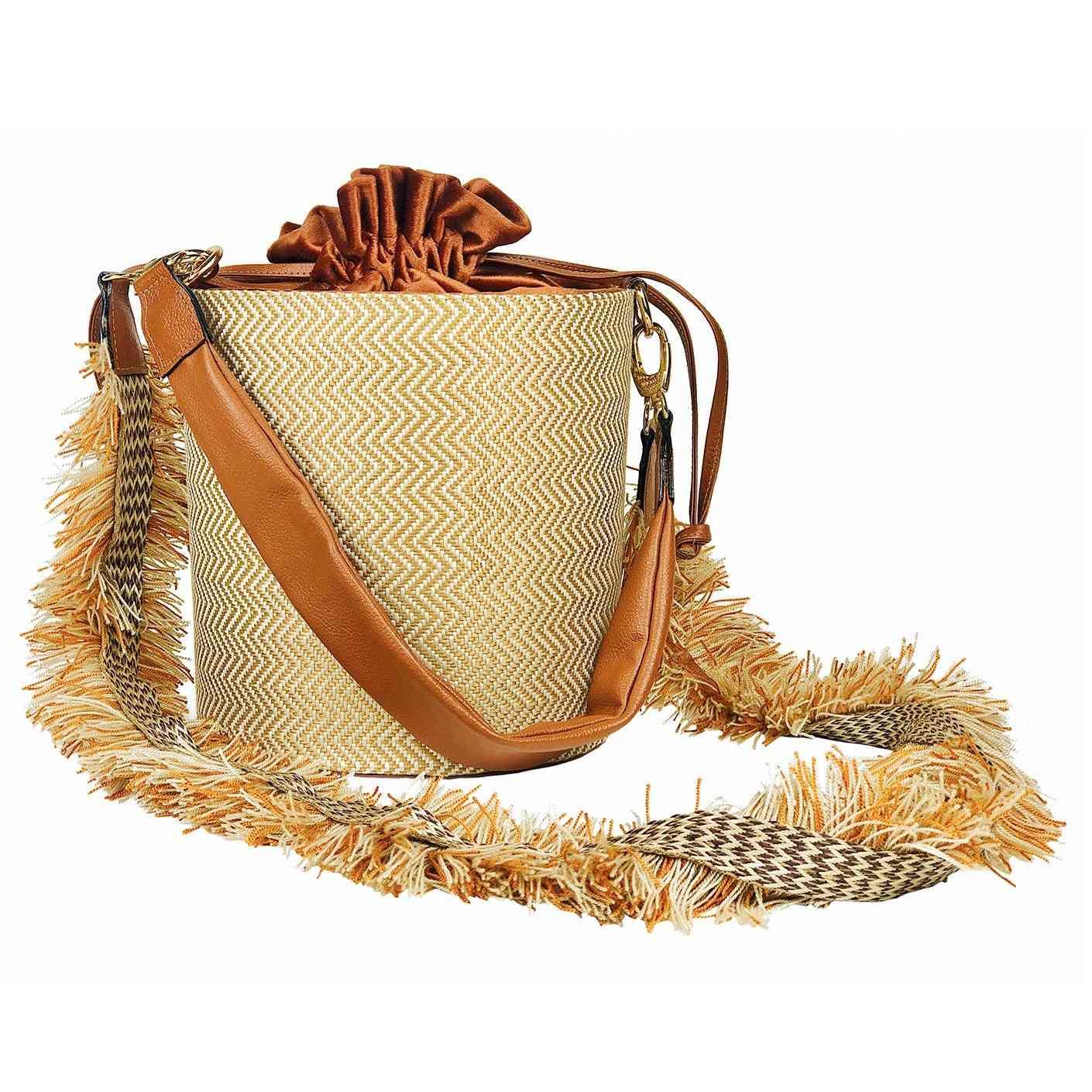 Textile And Leather Handle Handbag