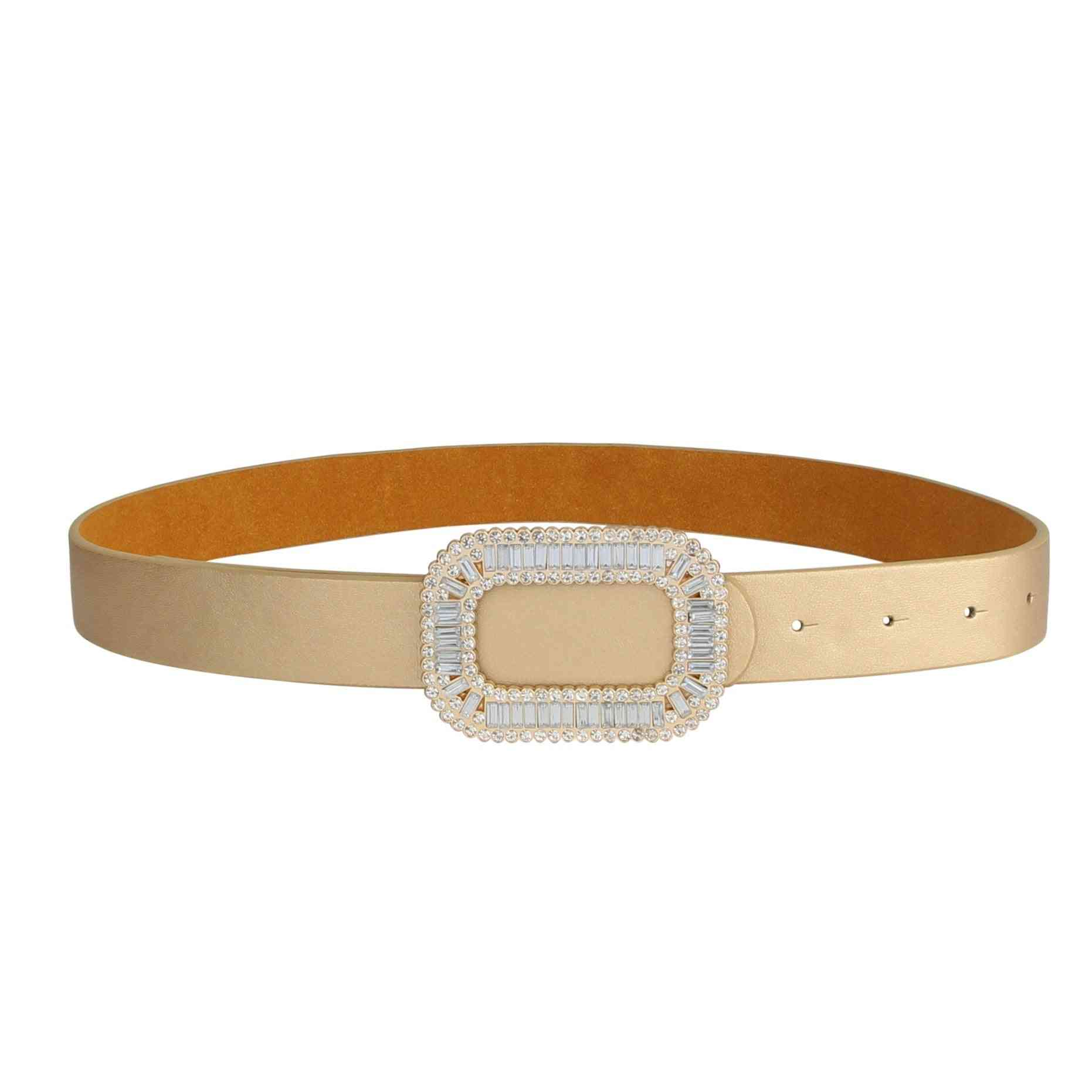 Crystal Embedded Buckle Belt