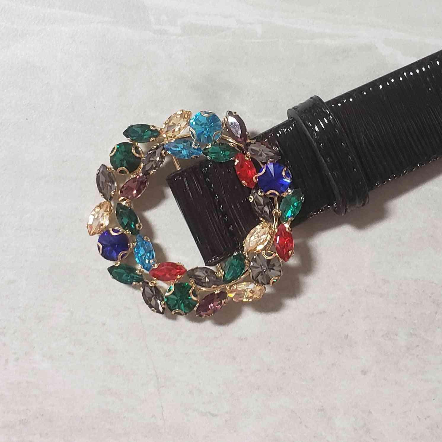 Multi-color Crystal Buckle Waist Belt