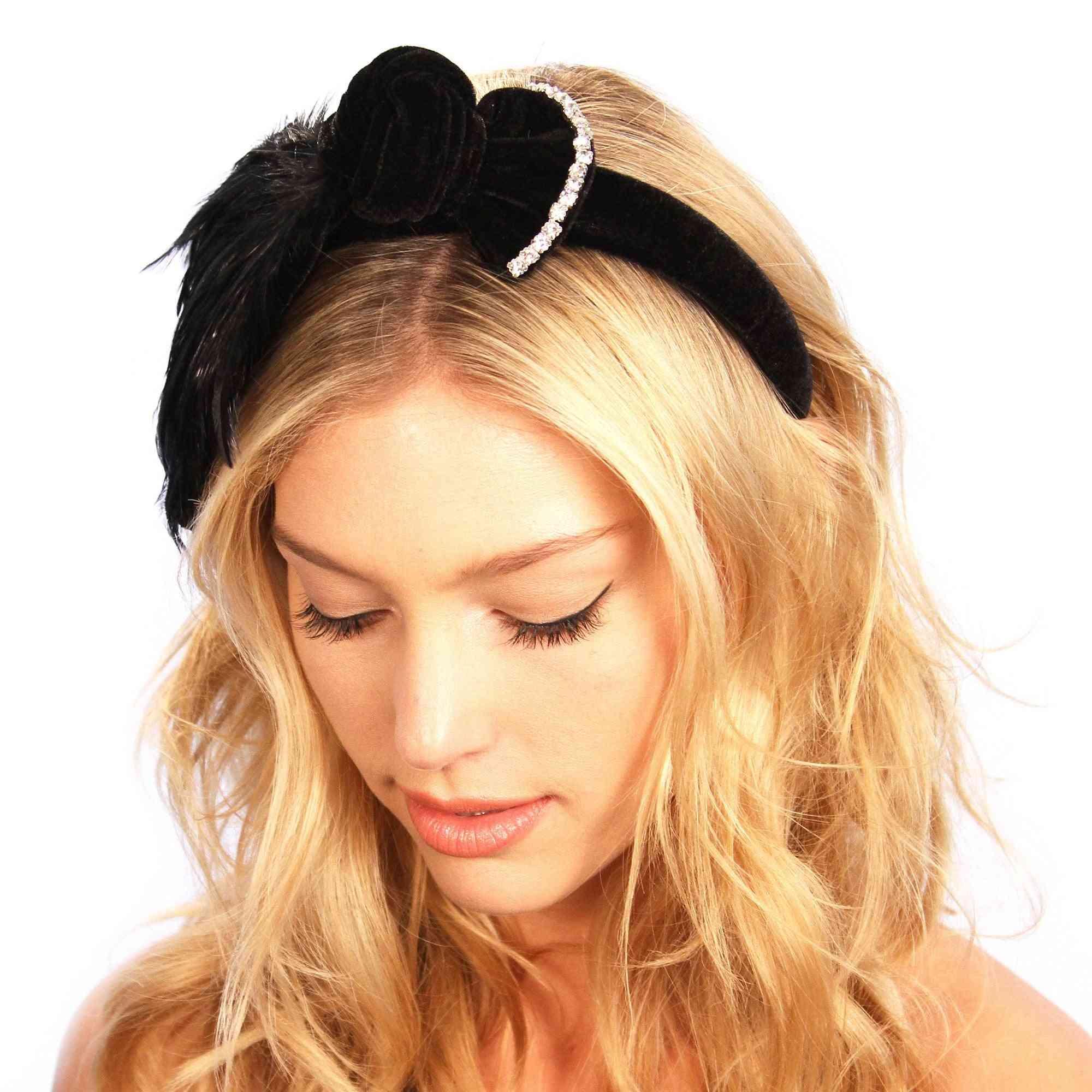 Feathered Bow Headband