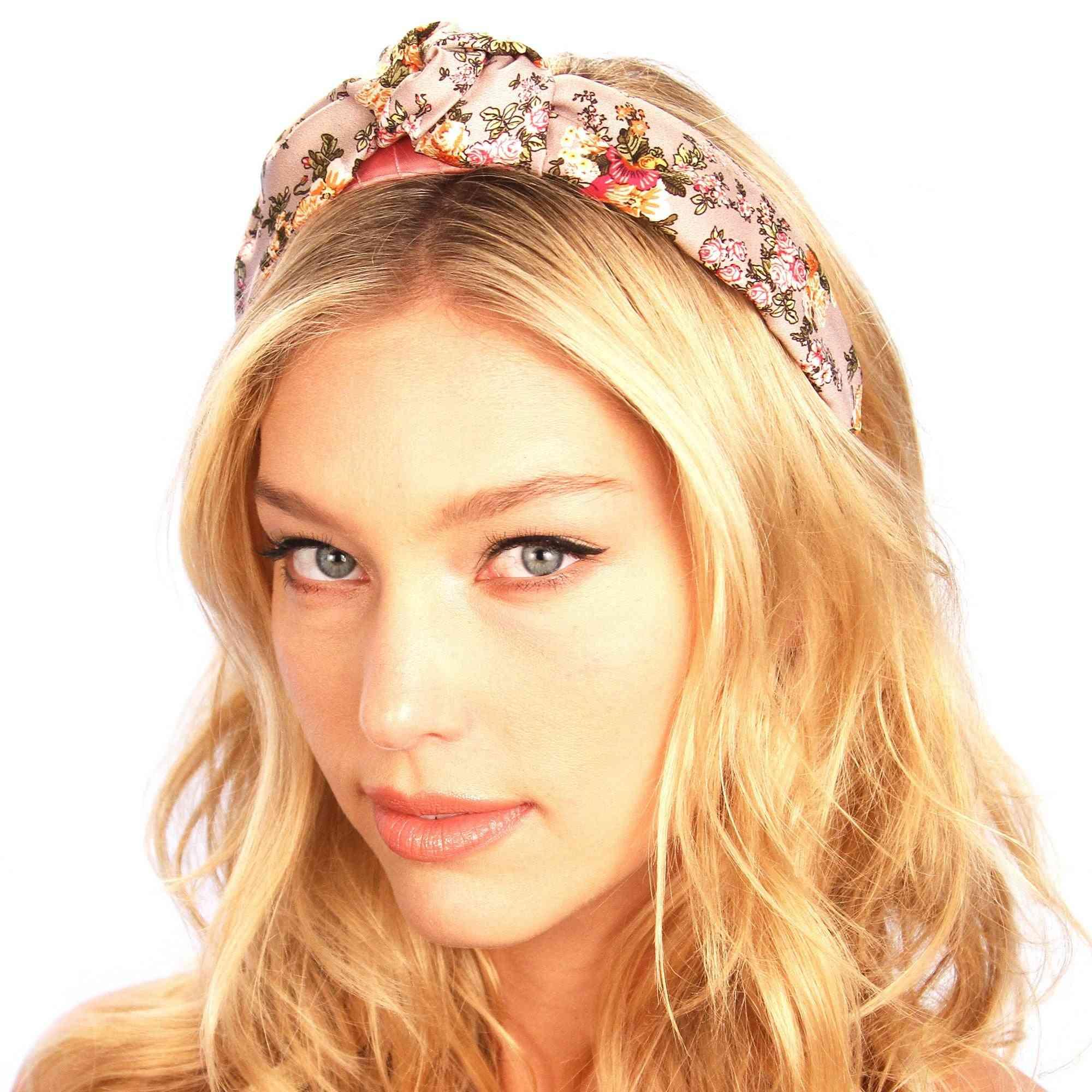 Floral Print Silk Top Knot Headband