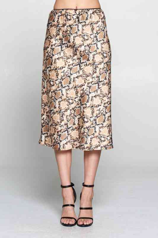 Satin Snake Print Midi Skirt