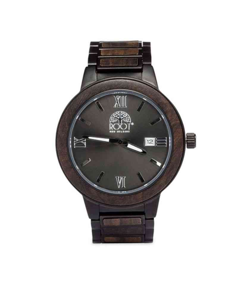 Stainless Steel And Ebony Wood Influence Watch
